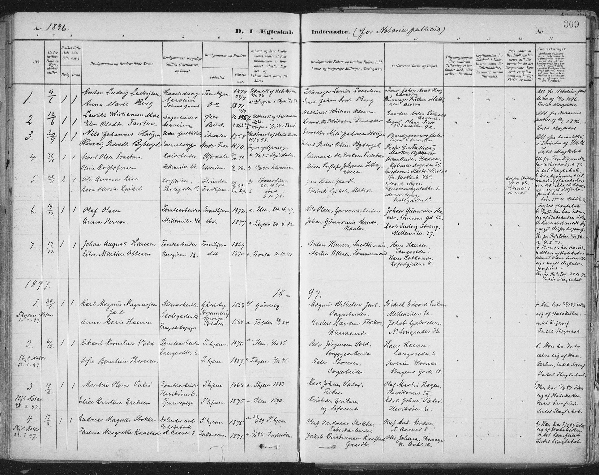 SAT, Ministerialprotokoller, klokkerbøker og fødselsregistre - Sør-Trøndelag, 603/L0167: Ministerialbok nr. 603A06, 1896-1932, s. 309
