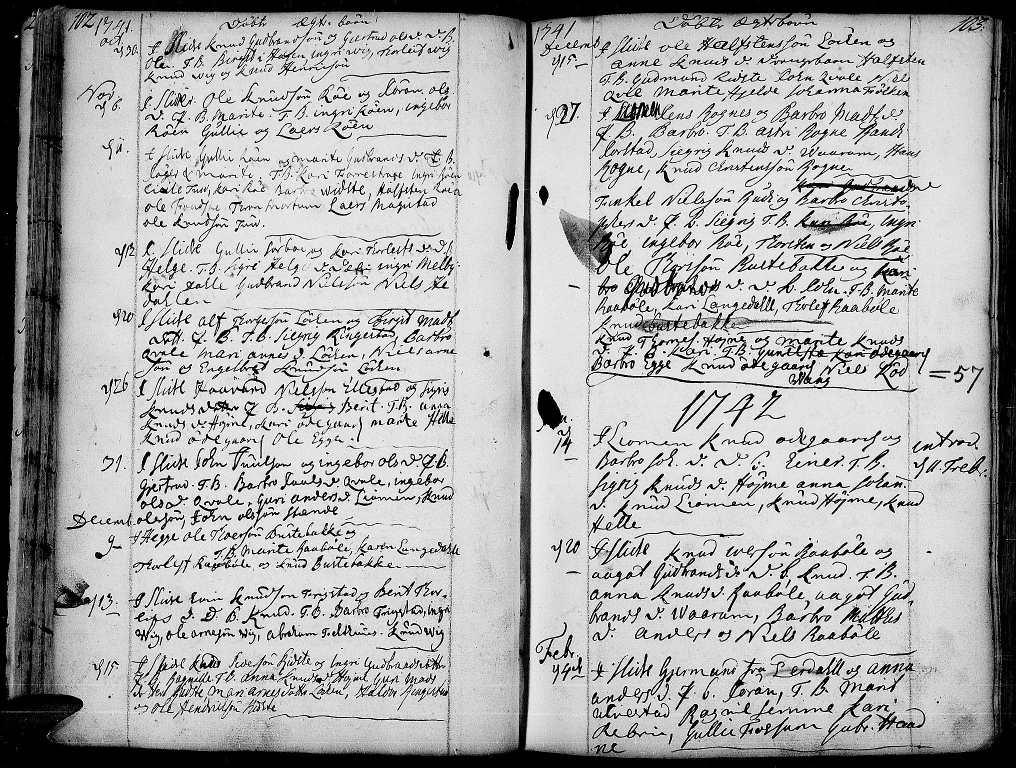 SAH, Slidre prestekontor, Ministerialbok nr. 1, 1724-1814, s. 102-103