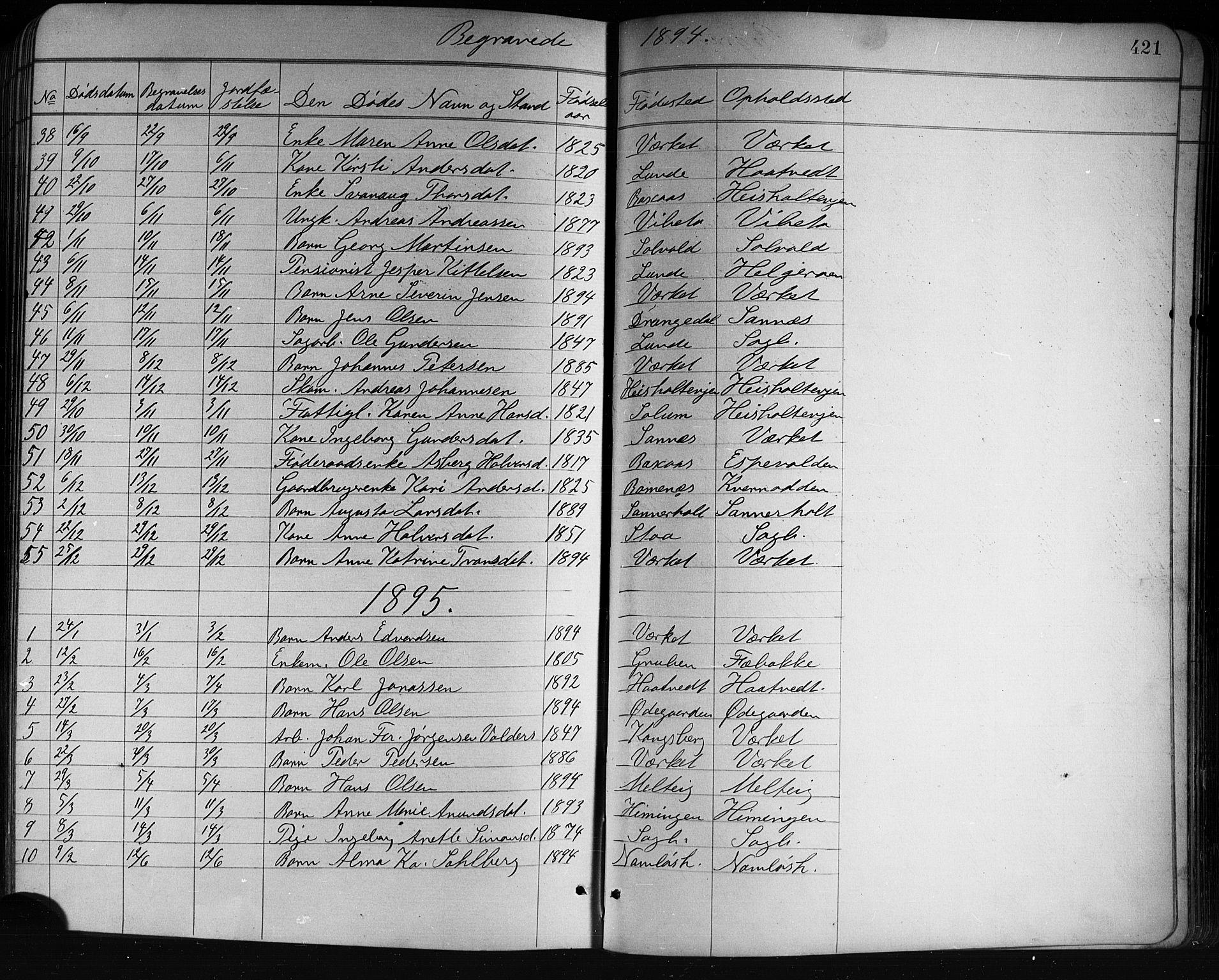 SAKO, Holla kirkebøker, G/Ga/L0005: Klokkerbok nr. I 5, 1891-1917, s. 421
