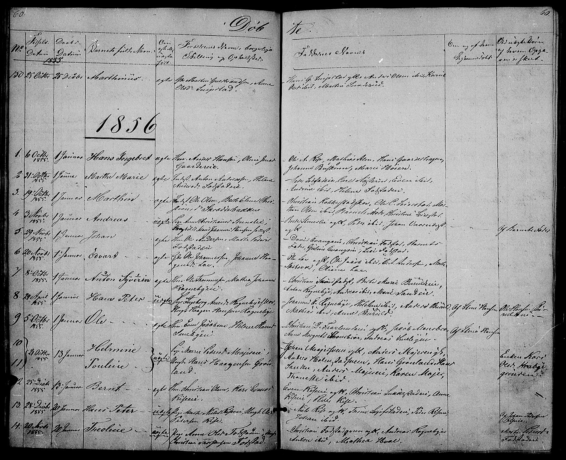 SAH, Østre Toten prestekontor, Klokkerbok nr. 3, 1848-1857, s. 60