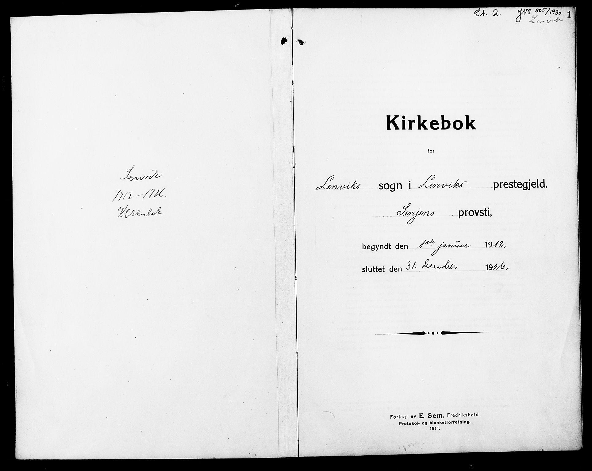 SATØ, Lenvik sokneprestembete, H/Ha: Klokkerbok nr. 9, 1912-1926, s. 1