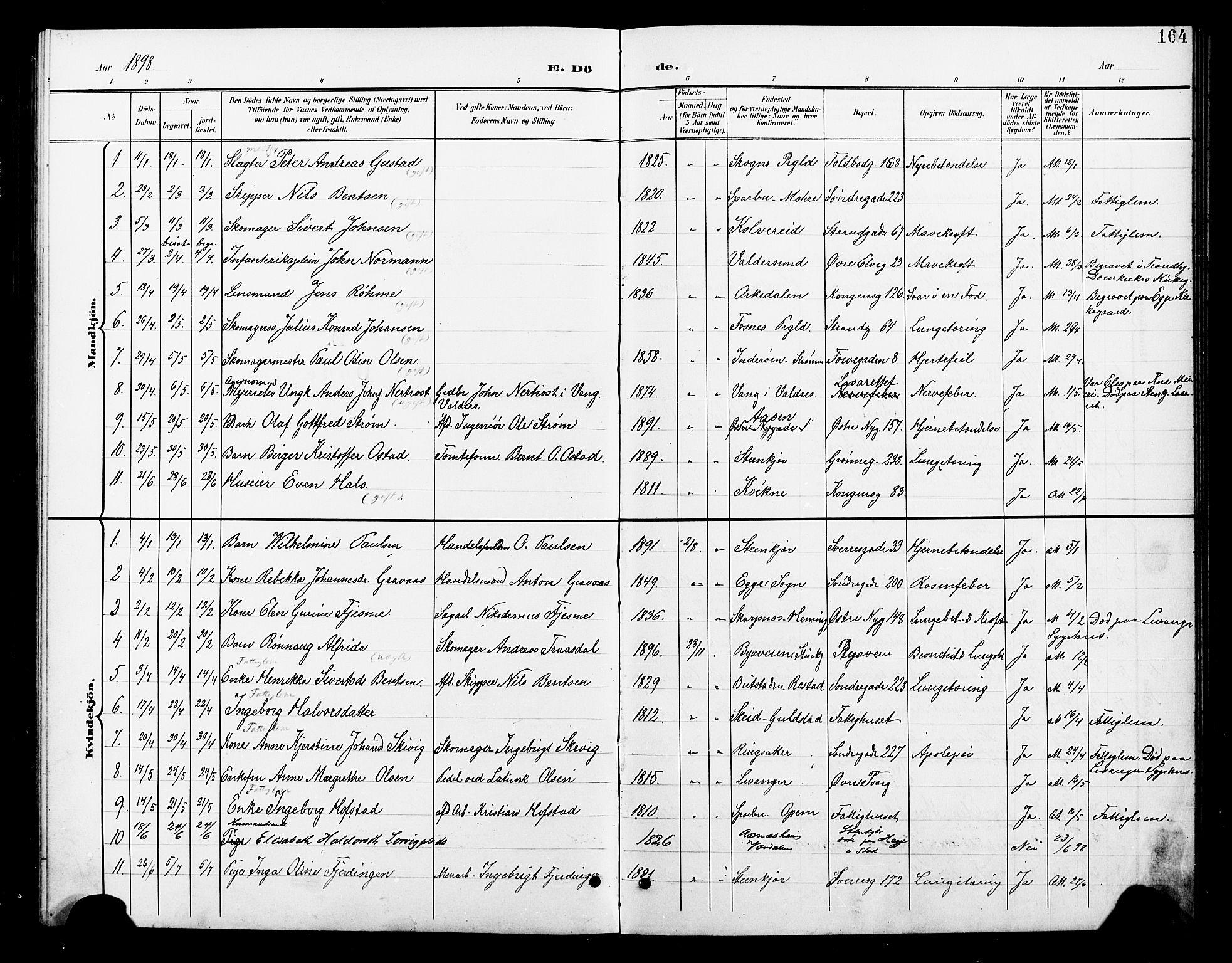 SAT, Ministerialprotokoller, klokkerbøker og fødselsregistre - Nord-Trøndelag, 739/L0375: Klokkerbok nr. 739C03, 1898-1908, s. 164