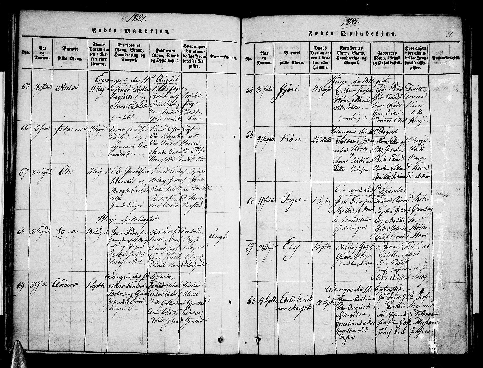 SAB, Voss Sokneprestembete, H/Haa: Ministerialbok nr. A 11, 1816-1827, s. 81
