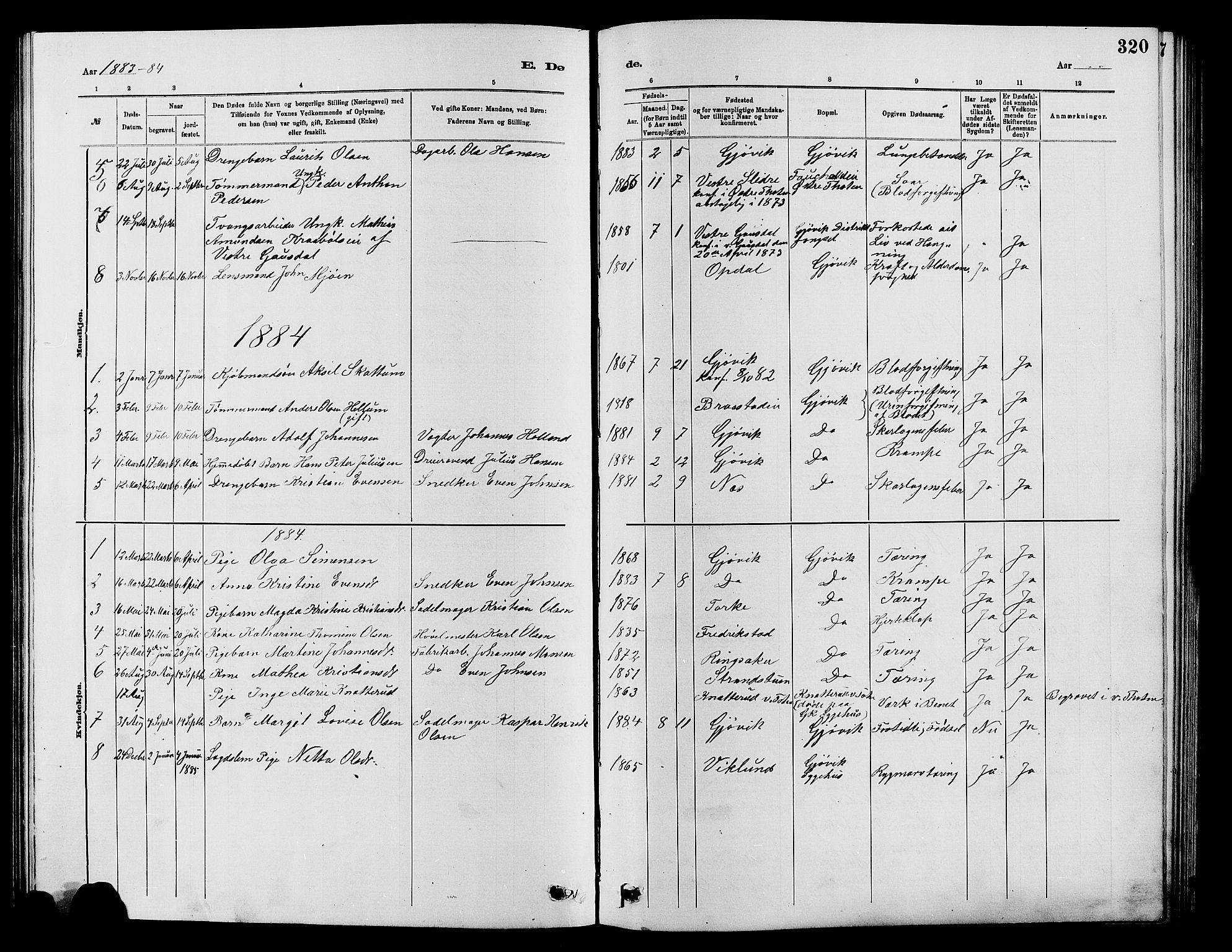 SAH, Vardal prestekontor, H/Ha/Hab/L0007: Klokkerbok nr. 7 /2, 1881-1895, s. 320