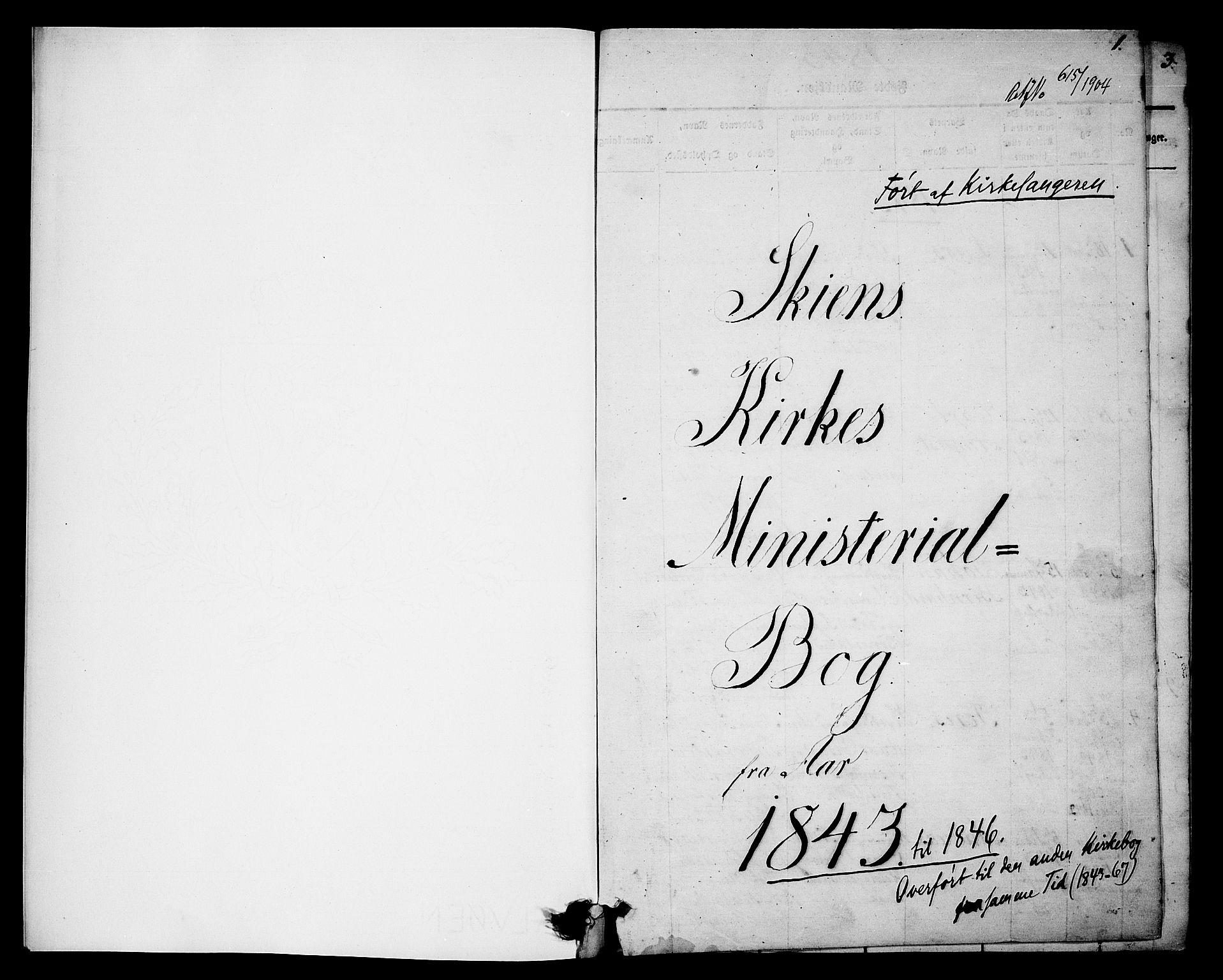 SAKO, Skien kirkebøker, G/Ga/L0003: Klokkerbok nr. 3, 1843-1847, s. 0-1