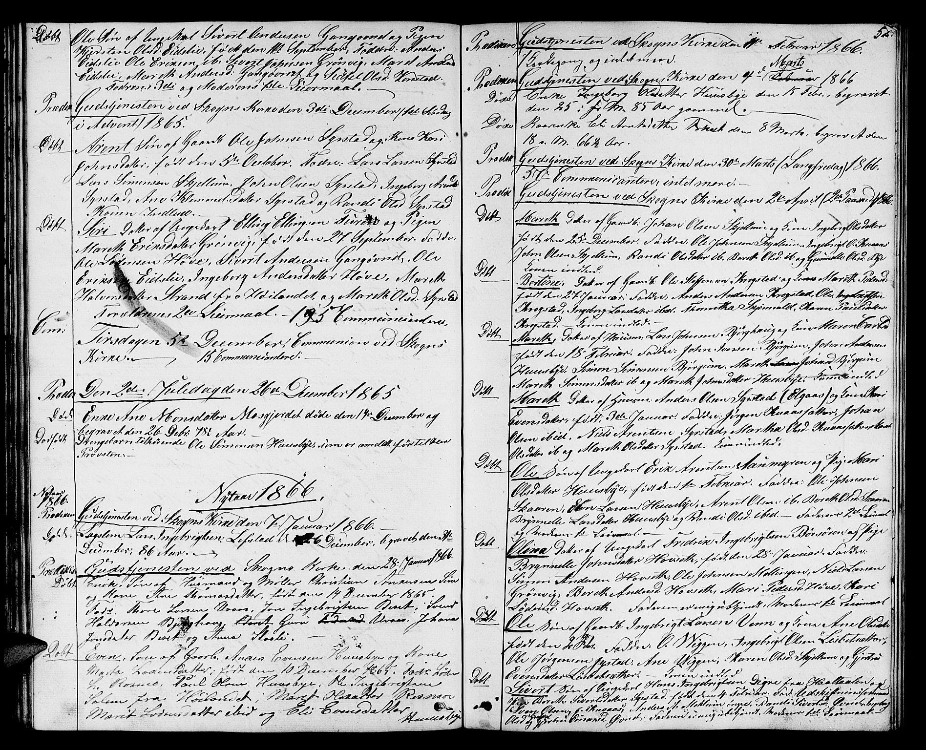 SAT, Ministerialprotokoller, klokkerbøker og fødselsregistre - Sør-Trøndelag, 667/L0797: Klokkerbok nr. 667C02, 1849-1867, s. 52