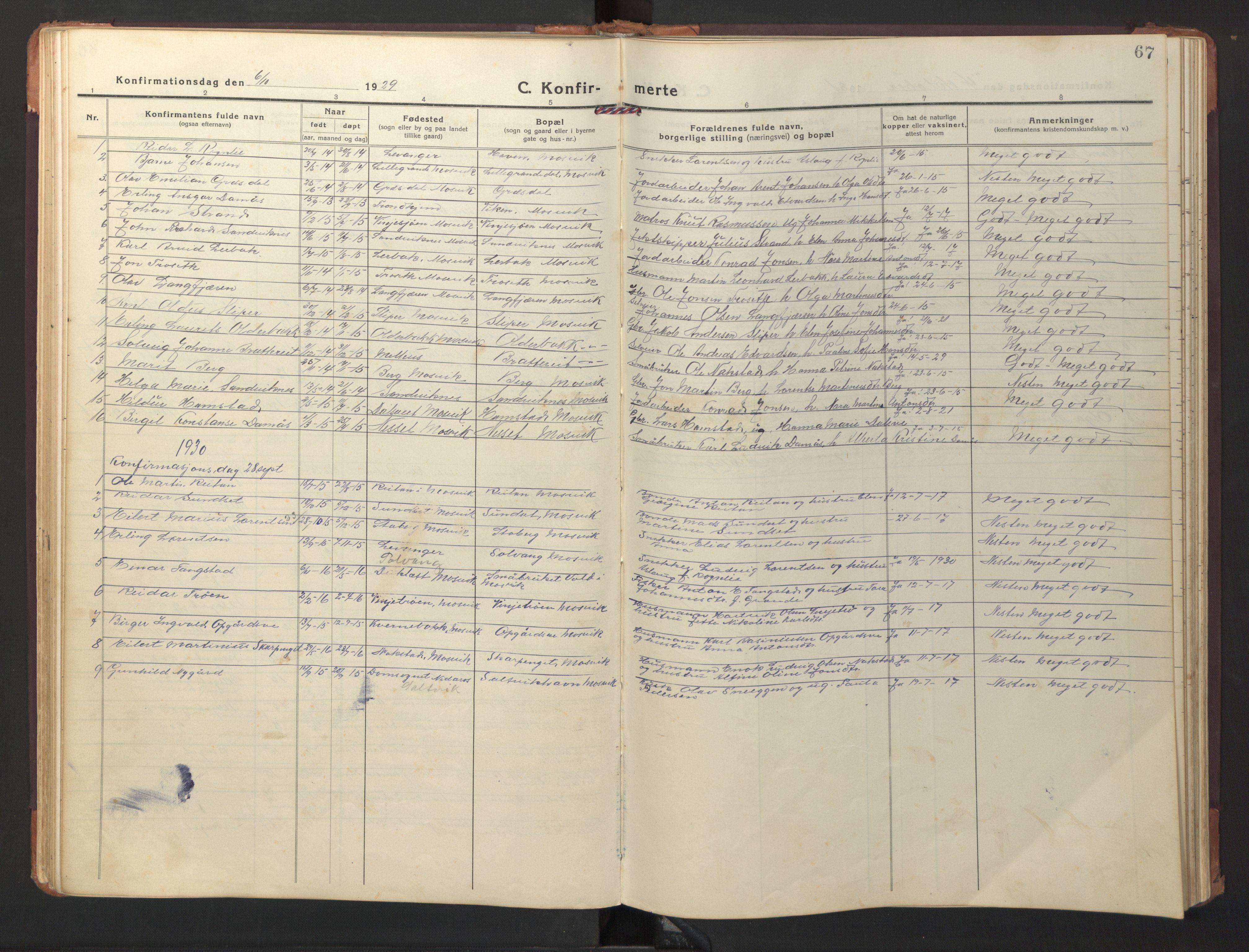 SAT, Ministerialprotokoller, klokkerbøker og fødselsregistre - Nord-Trøndelag, 733/L0328: Klokkerbok nr. 733C03, 1919-1966, s. 67