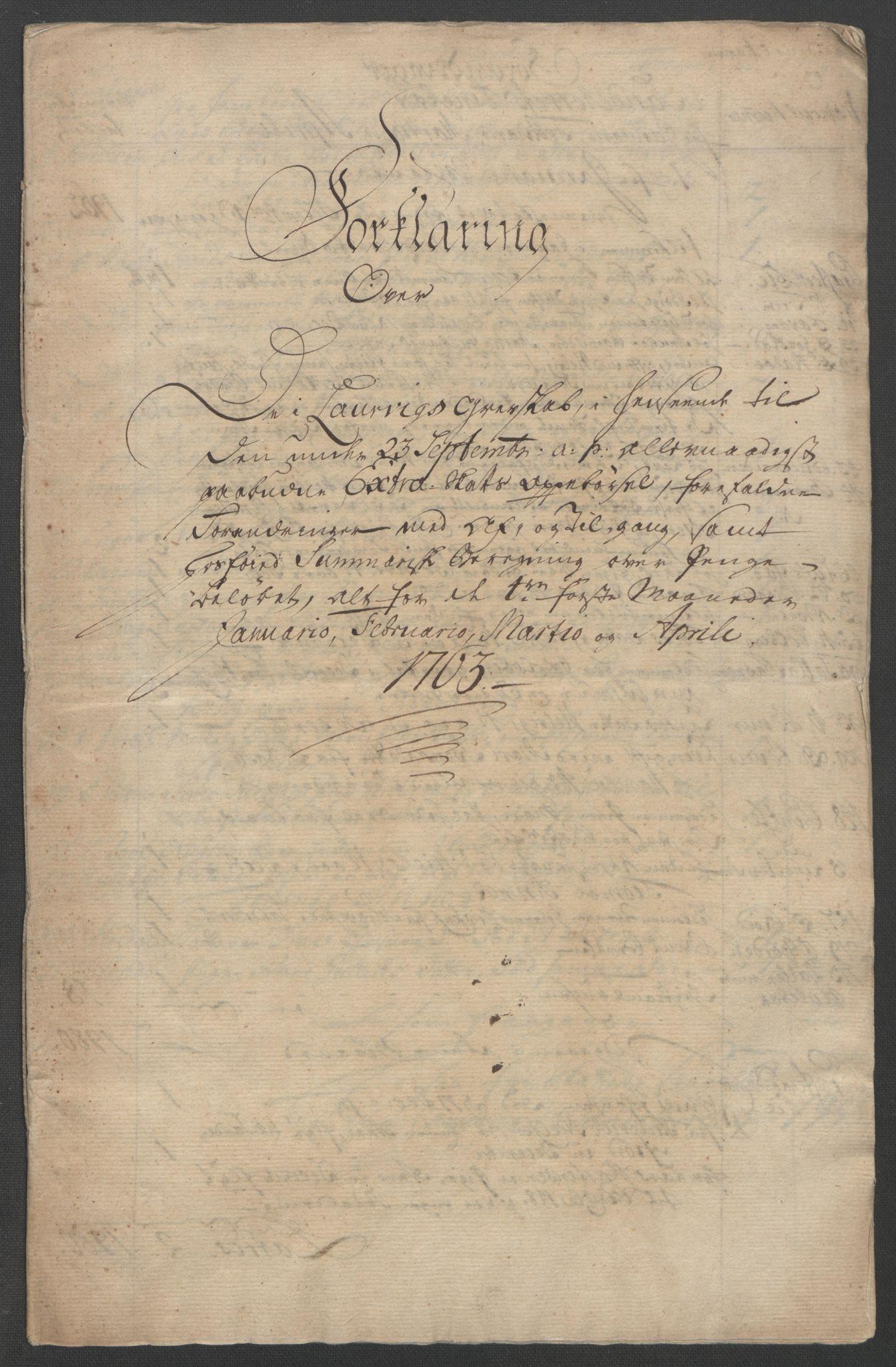 RA, Rentekammeret inntil 1814, Reviderte regnskaper, Fogderegnskap, R33/L2033: Ekstraskatten Larvik grevskap, 1762-1764, s. 107