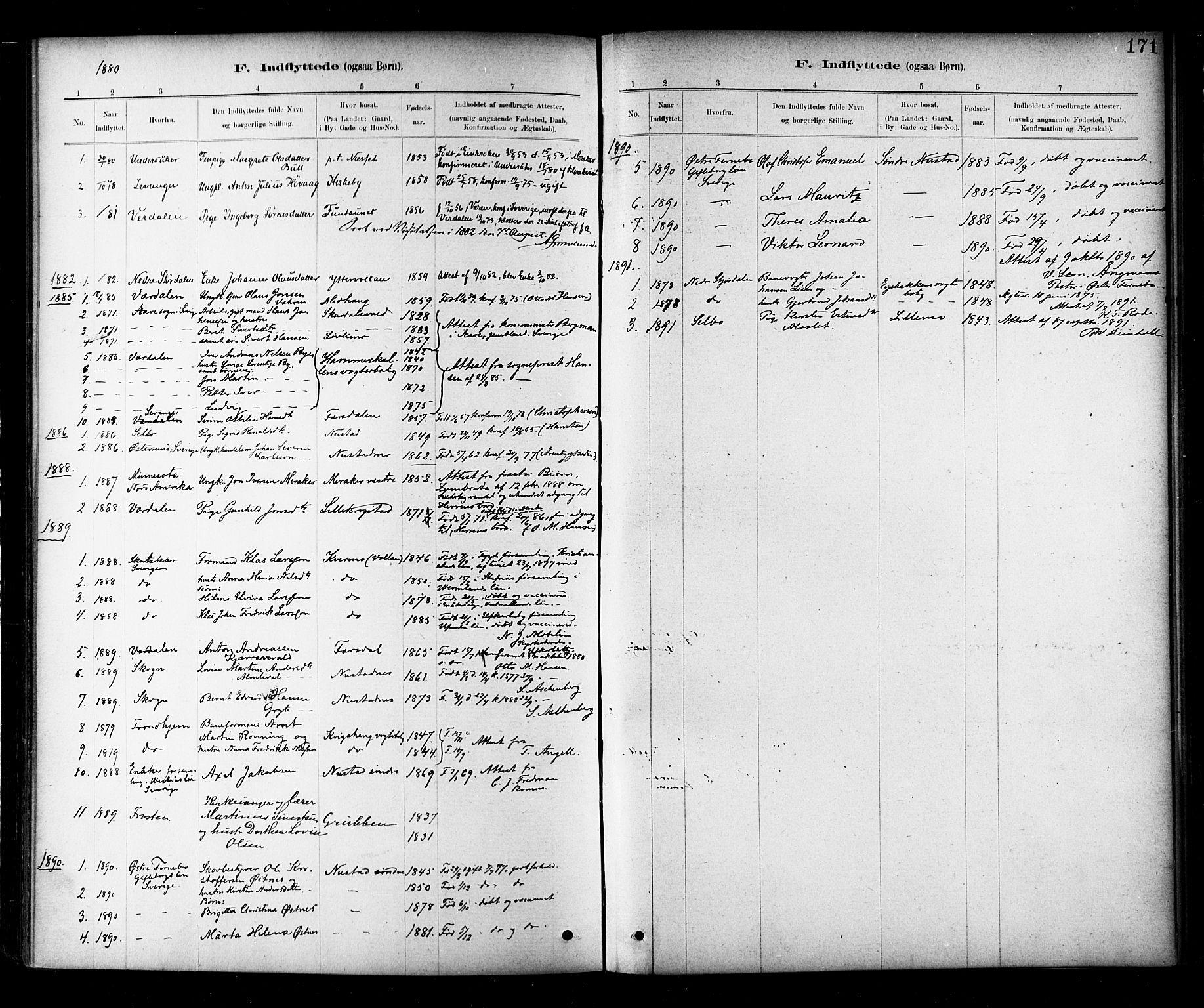 SAT, Ministerialprotokoller, klokkerbøker og fødselsregistre - Nord-Trøndelag, 706/L0047: Ministerialbok nr. 706A03, 1878-1892, s. 171