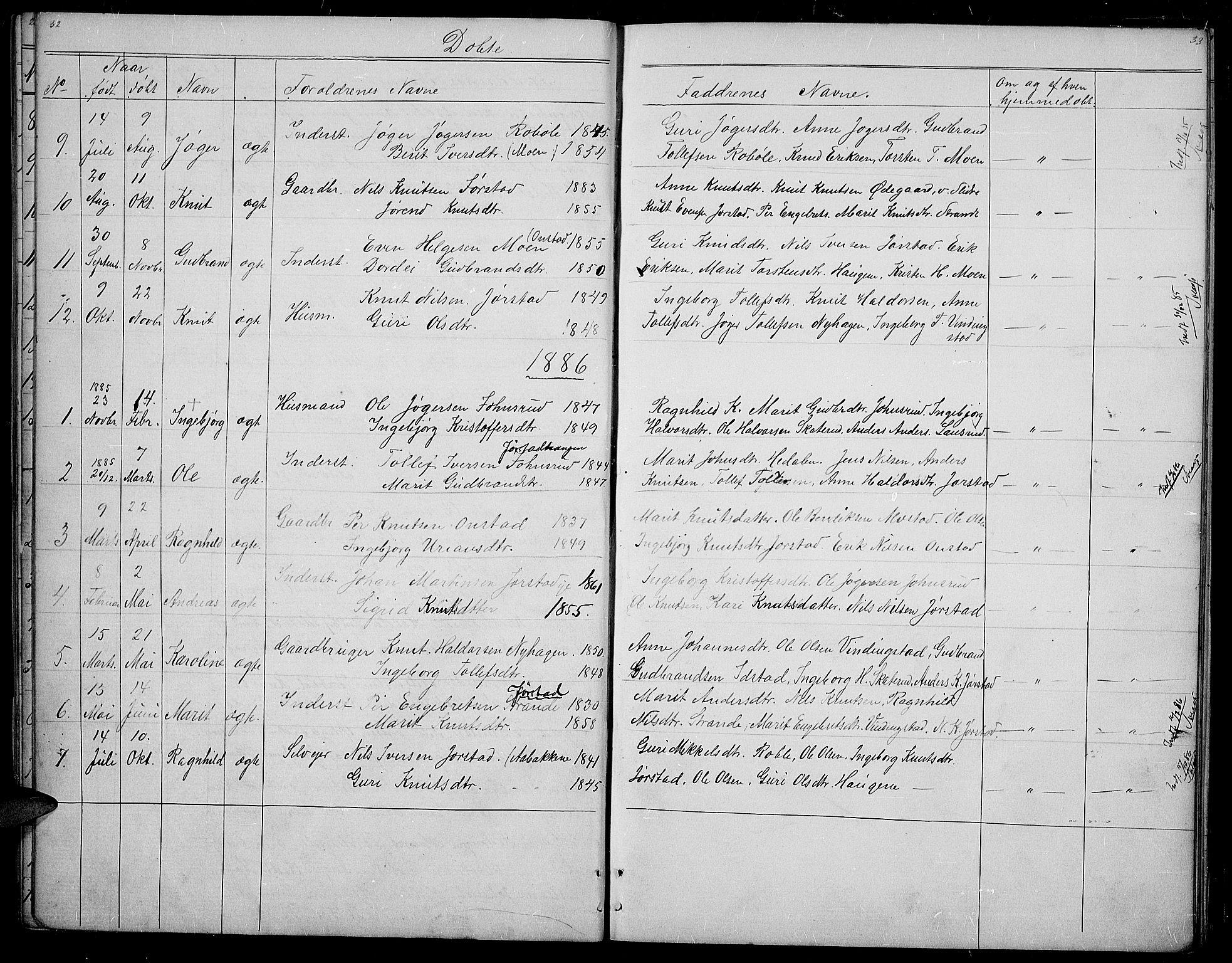SAH, Øystre Slidre prestekontor, Klokkerbok nr. 2, 1866-1886, s. 32-33