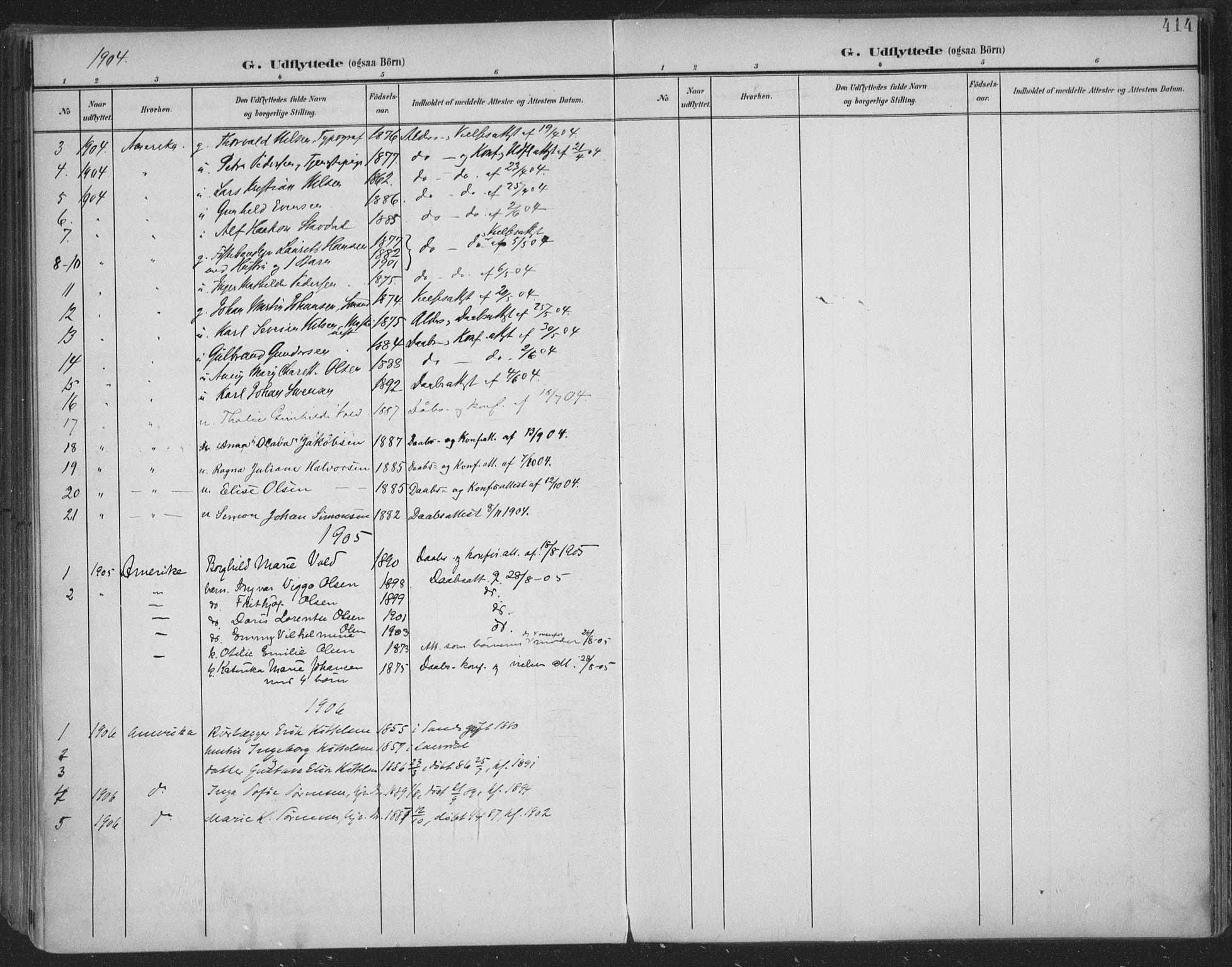 SAKO, Skien kirkebøker, F/Fa/L0011: Ministerialbok nr. 11, 1900-1907, s. 414