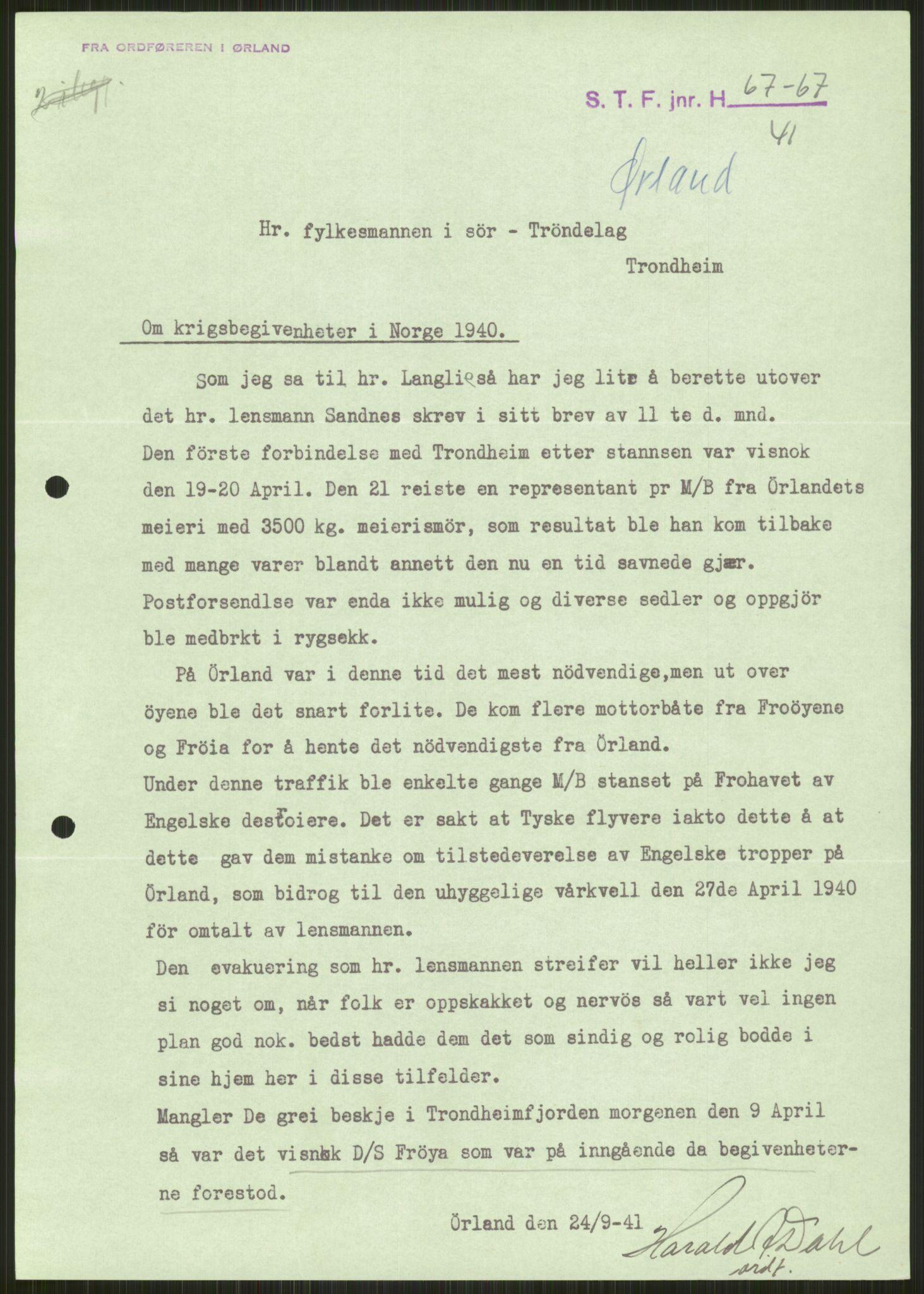 RA, Forsvaret, Forsvarets krigshistoriske avdeling, Y/Ya/L0016: II-C-11-31 - Fylkesmenn.  Rapporter om krigsbegivenhetene 1940., 1940, s. 30