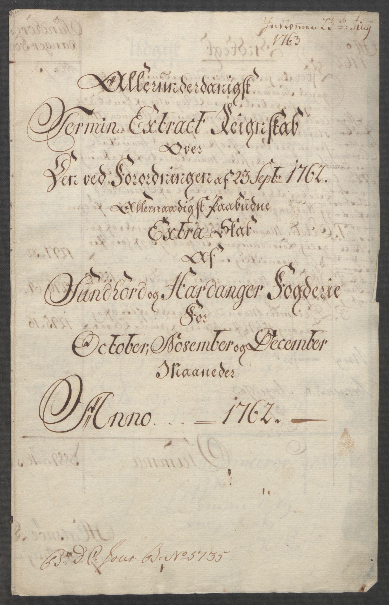 RA, Rentekammeret inntil 1814, Reviderte regnskaper, Fogderegnskap, R48/L3136: Ekstraskatten Sunnhordland og Hardanger, 1762-1772, s. 4