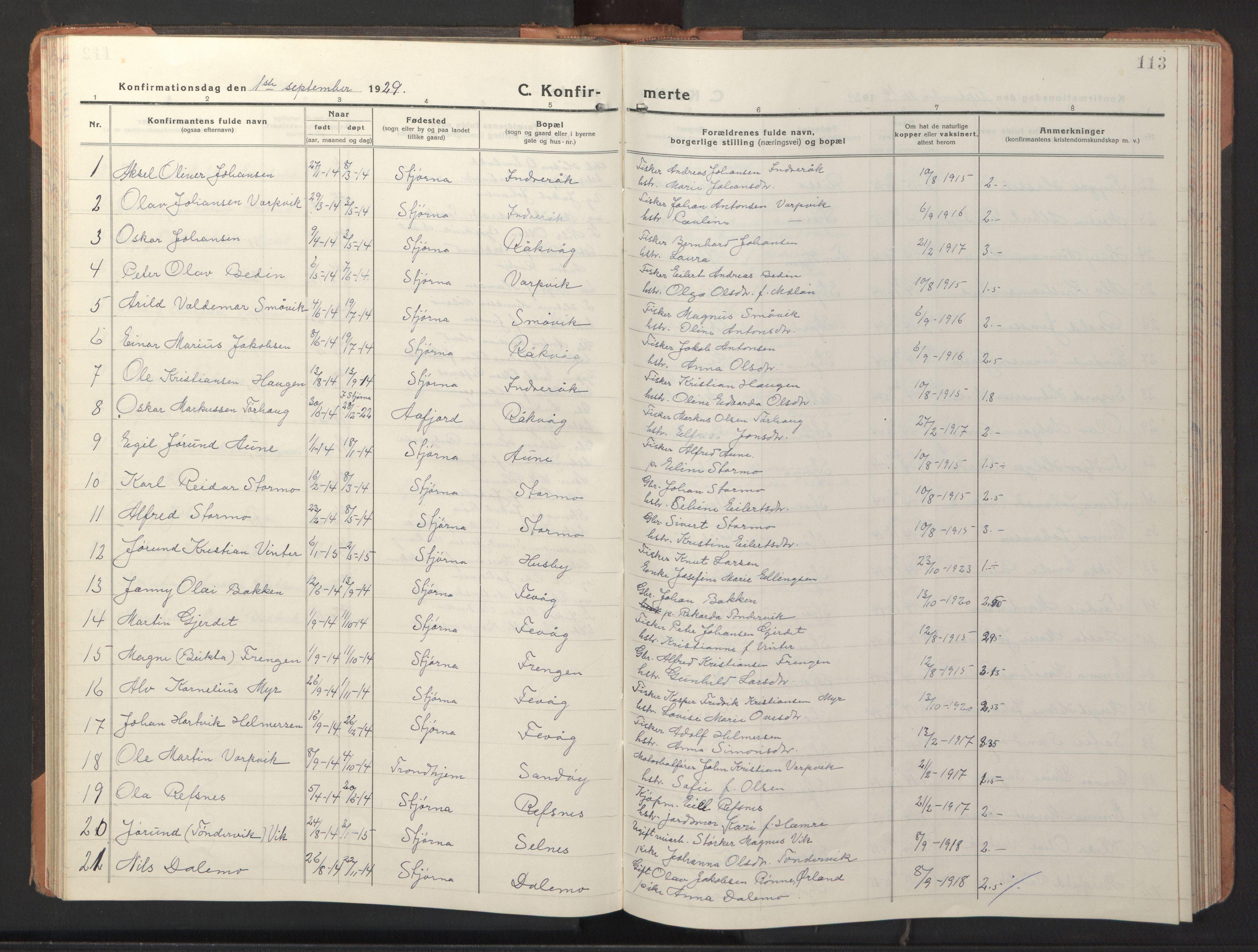 SAT, Ministerialprotokoller, klokkerbøker og fødselsregistre - Sør-Trøndelag, 653/L0658: Klokkerbok nr. 653C02, 1919-1947, s. 113