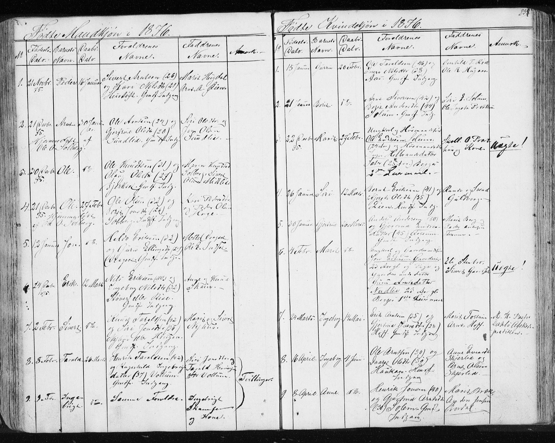 SAT, Ministerialprotokoller, klokkerbøker og fødselsregistre - Sør-Trøndelag, 689/L1043: Klokkerbok nr. 689C02, 1816-1892, s. 238