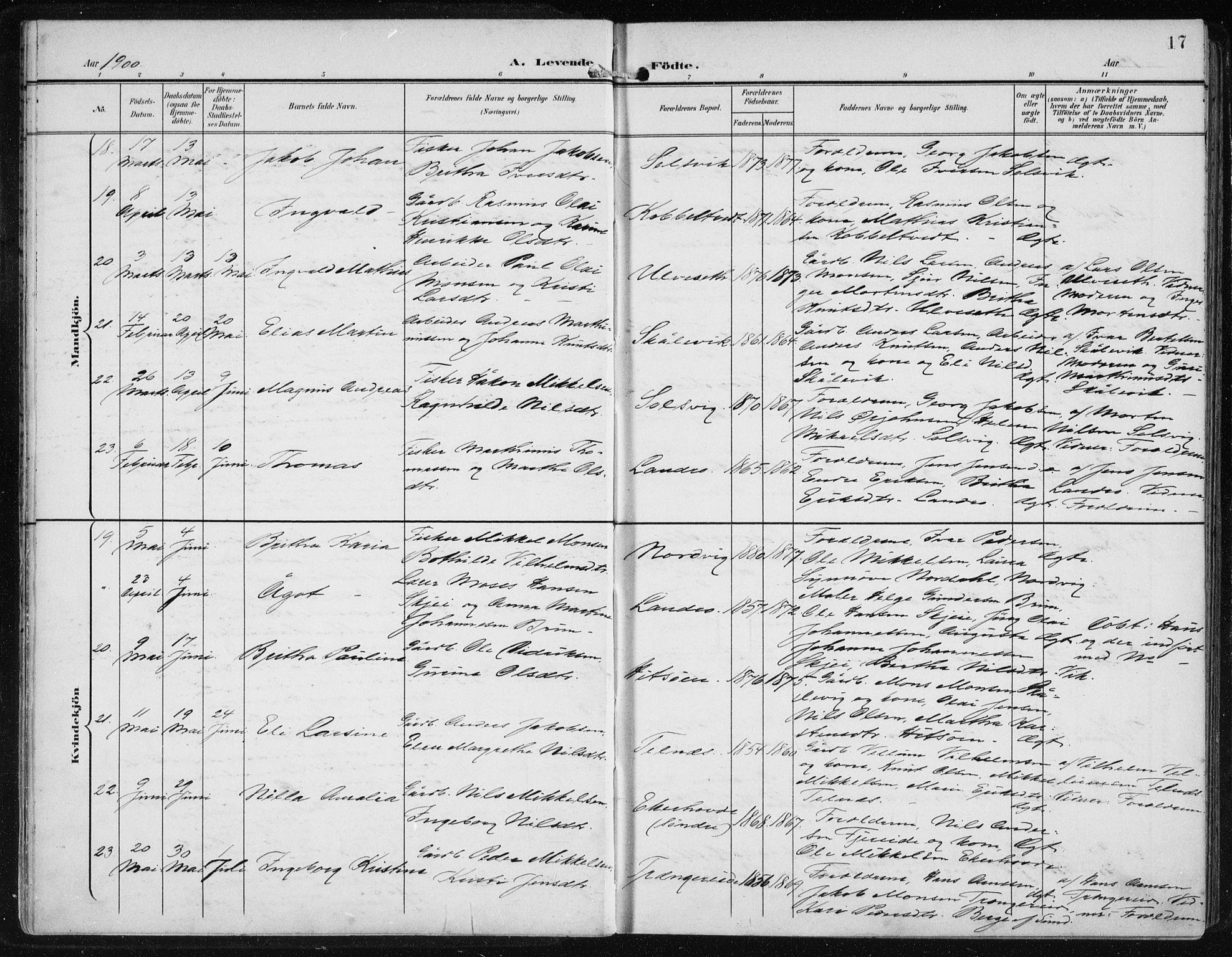 SAB, Fjell sokneprestembete, H/Haa: Ministerialbok nr. A  9, 1899-1910, s. 17