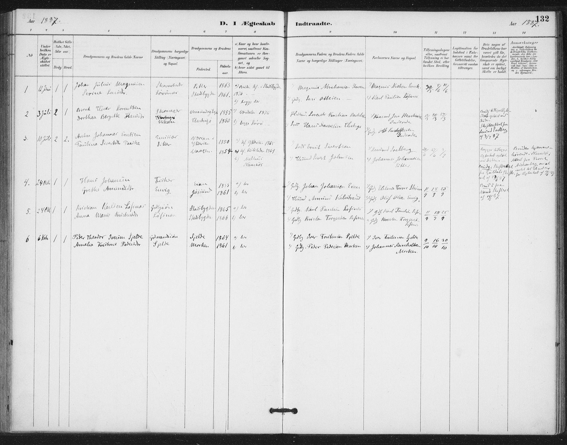 SAT, Ministerialprotokoller, klokkerbøker og fødselsregistre - Nord-Trøndelag, 772/L0603: Ministerialbok nr. 772A01, 1885-1912, s. 132