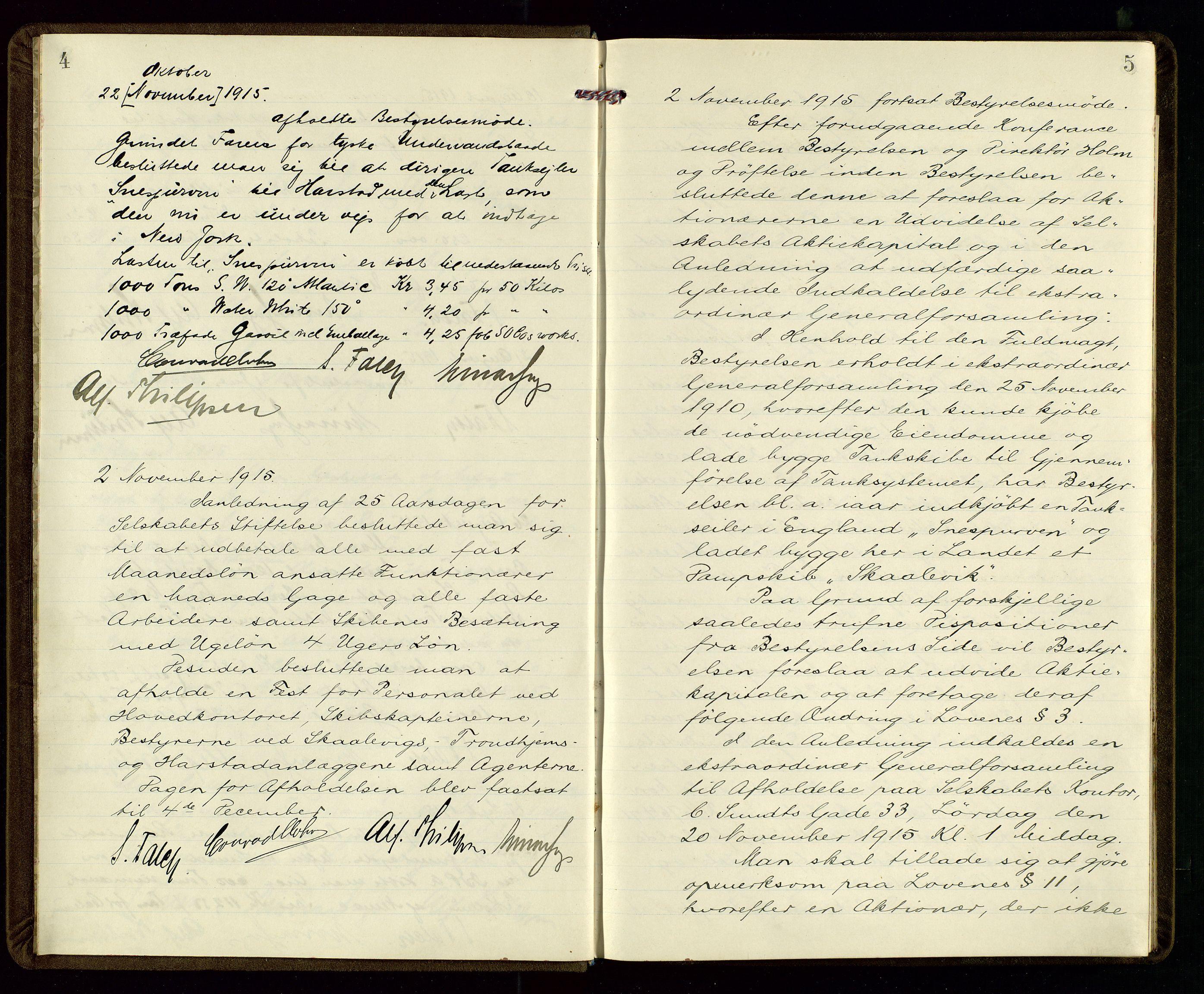 SAST, PA 1533 - A/S Vestlandske Petroleumscompani, A/Aa/L0001: Generalforsamlinger og styreprotokoller, 1915-1922, s. 4-5