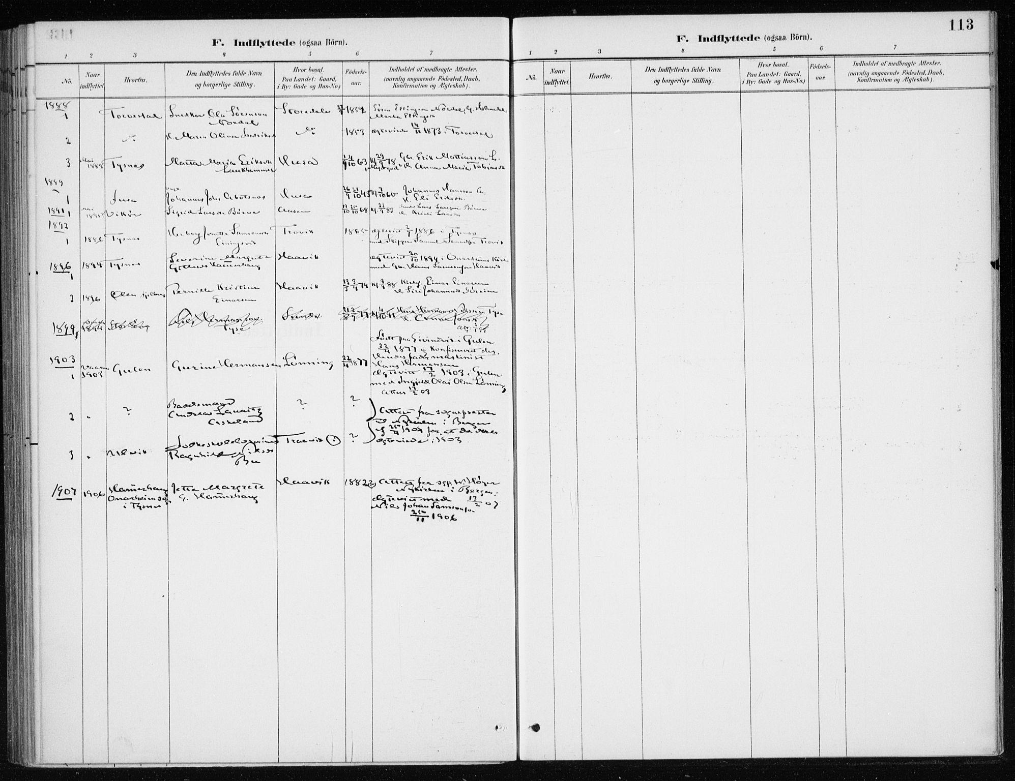 SAB, Kvinnherad Sokneprestembete, H/Haa: Ministerialbok nr. E 1, 1887-1912, s. 113