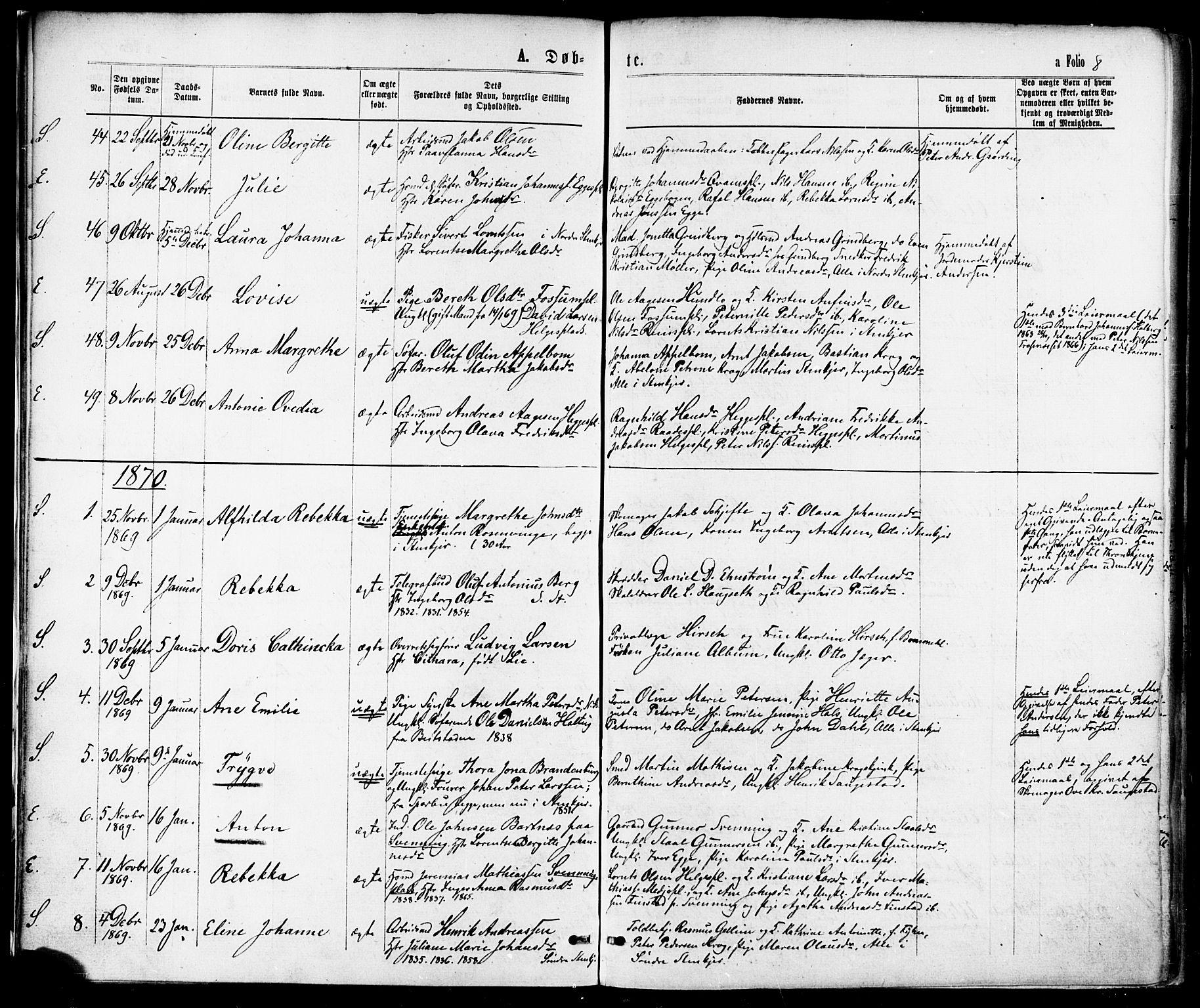 SAT, Ministerialprotokoller, klokkerbøker og fødselsregistre - Nord-Trøndelag, 739/L0370: Ministerialbok nr. 739A02, 1868-1881, s. 8