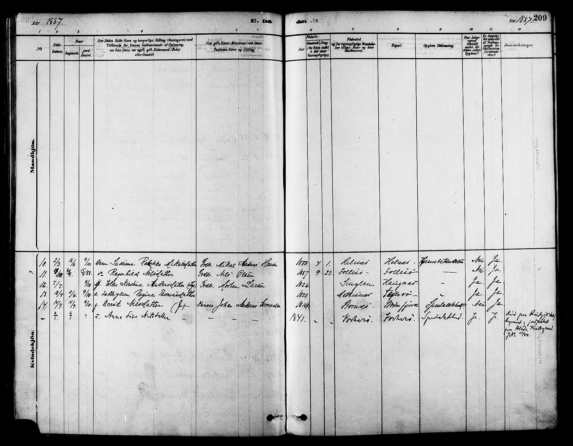SATØ, Skjervøy sokneprestkontor, H/Ha/Haa/L0009kirke: Ministerialbok nr. 9, 1878-1887, s. 209