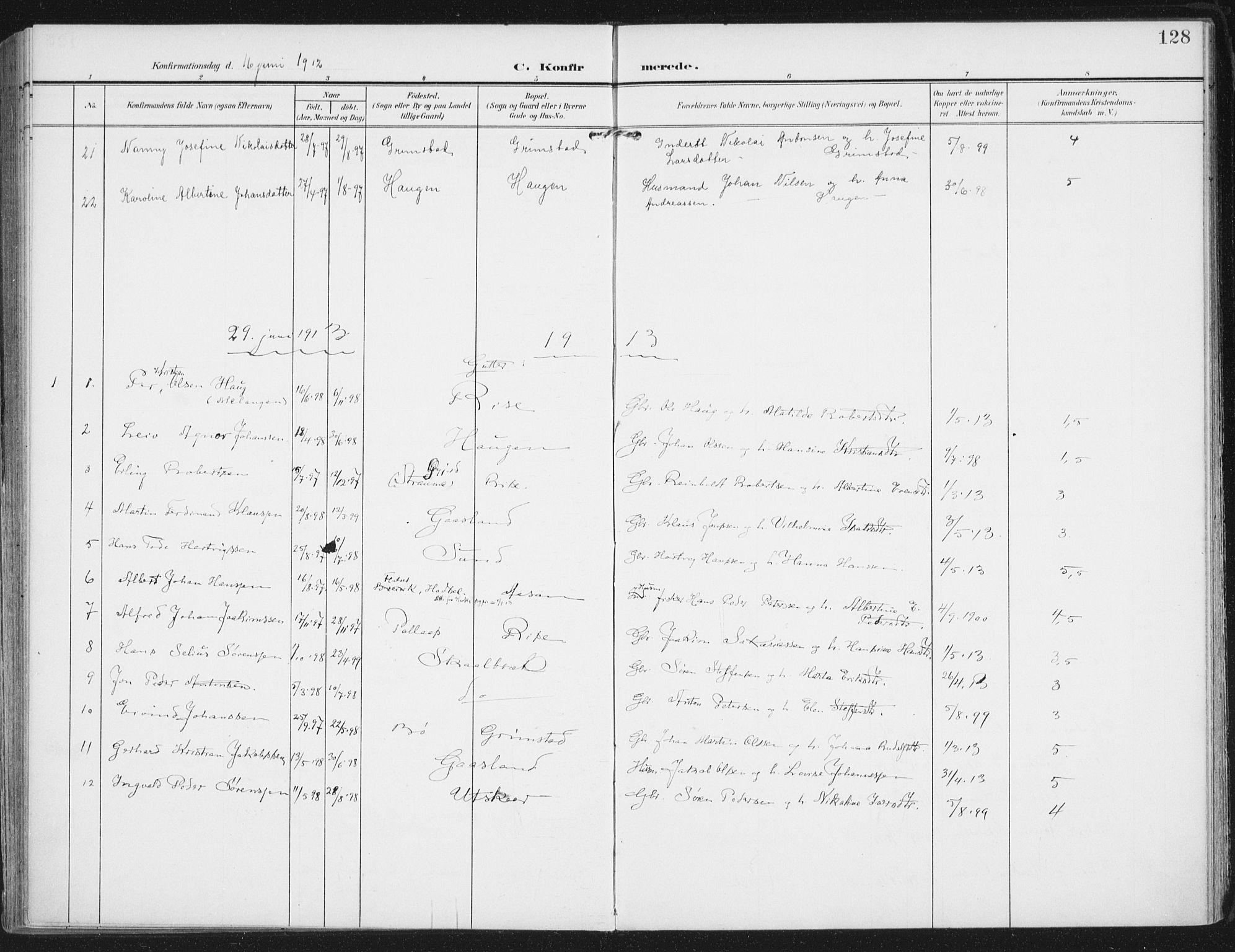 SAT, Ministerialprotokoller, klokkerbøker og fødselsregistre - Nordland, 892/L1321: Ministerialbok nr. 892A02, 1902-1918, s. 128