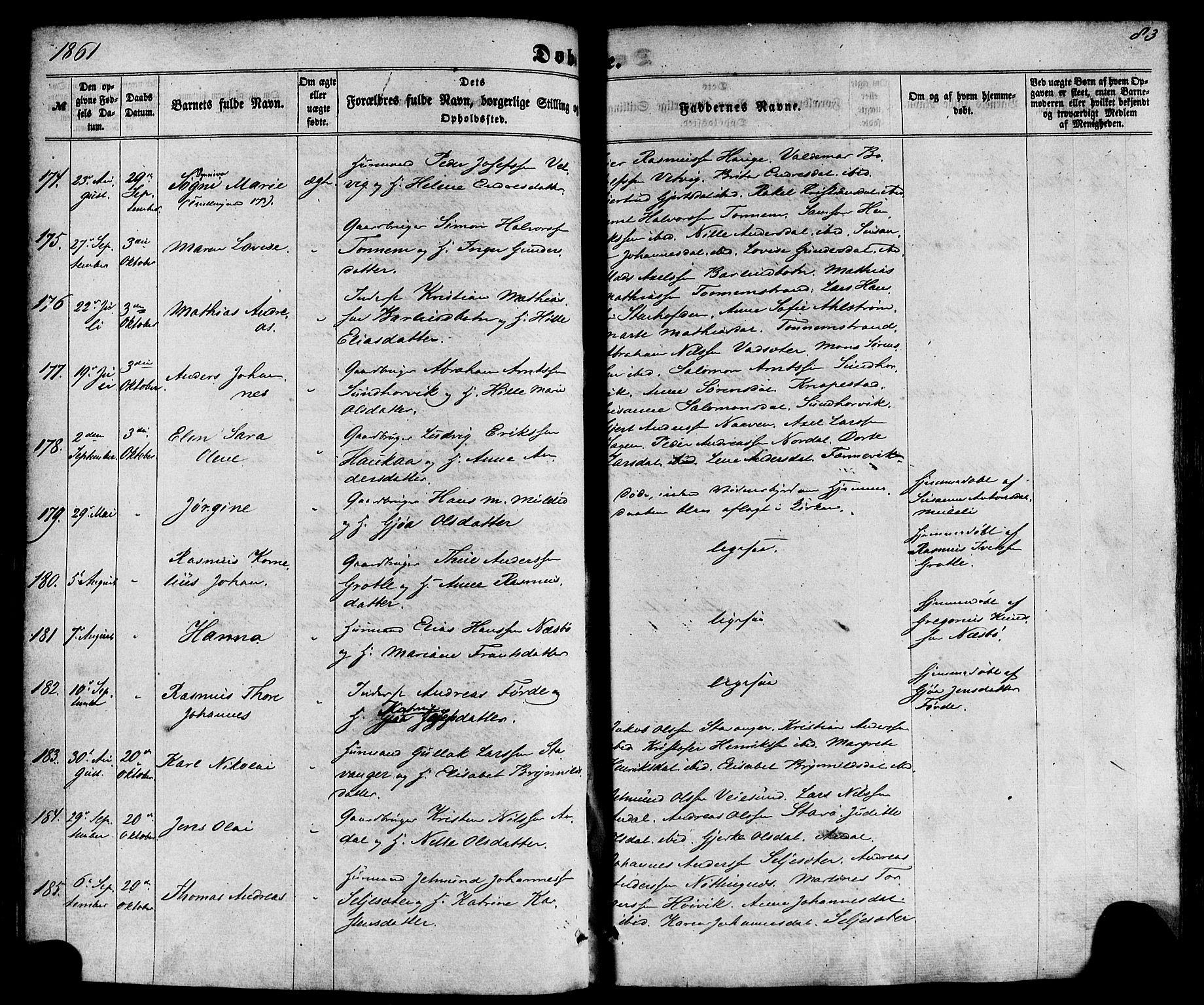 SAB, Kinn Sokneprestembete, Ministerialbok nr. A 6, 1857-1885, s. 83