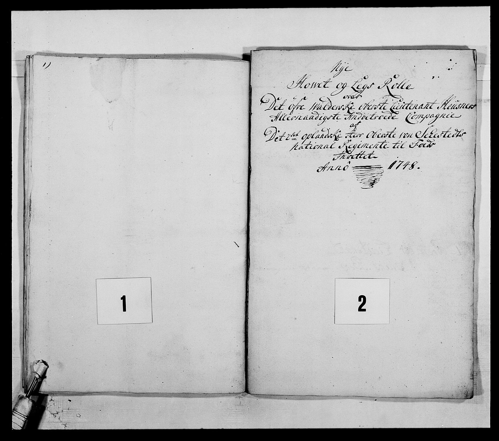 RA, Kommanderende general (KG I) med Det norske krigsdirektorium, E/Ea/L0505: 2. Opplandske regiment, 1748, s. 35