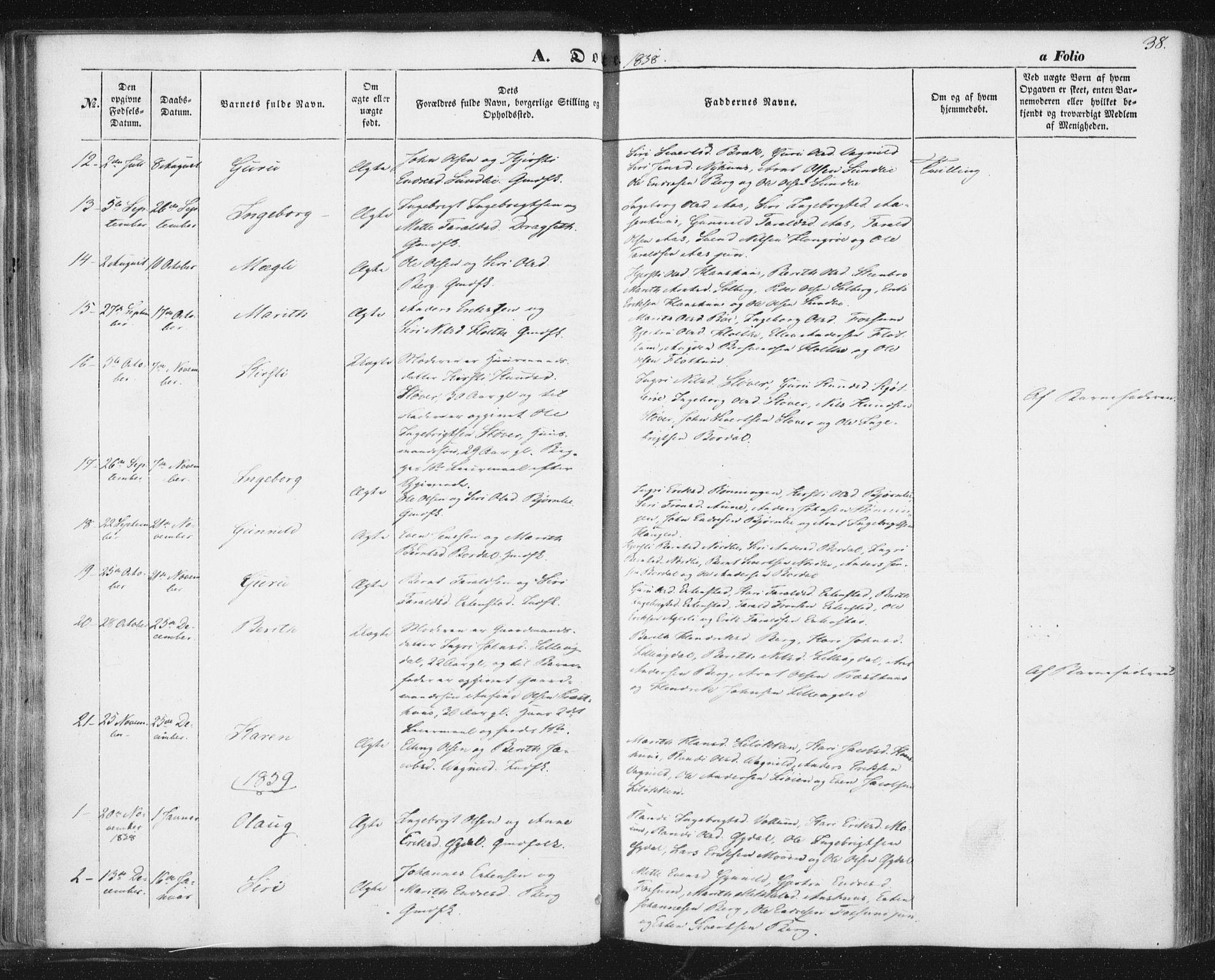 SAT, Ministerialprotokoller, klokkerbøker og fødselsregistre - Sør-Trøndelag, 689/L1038: Ministerialbok nr. 689A03, 1848-1872, s. 38