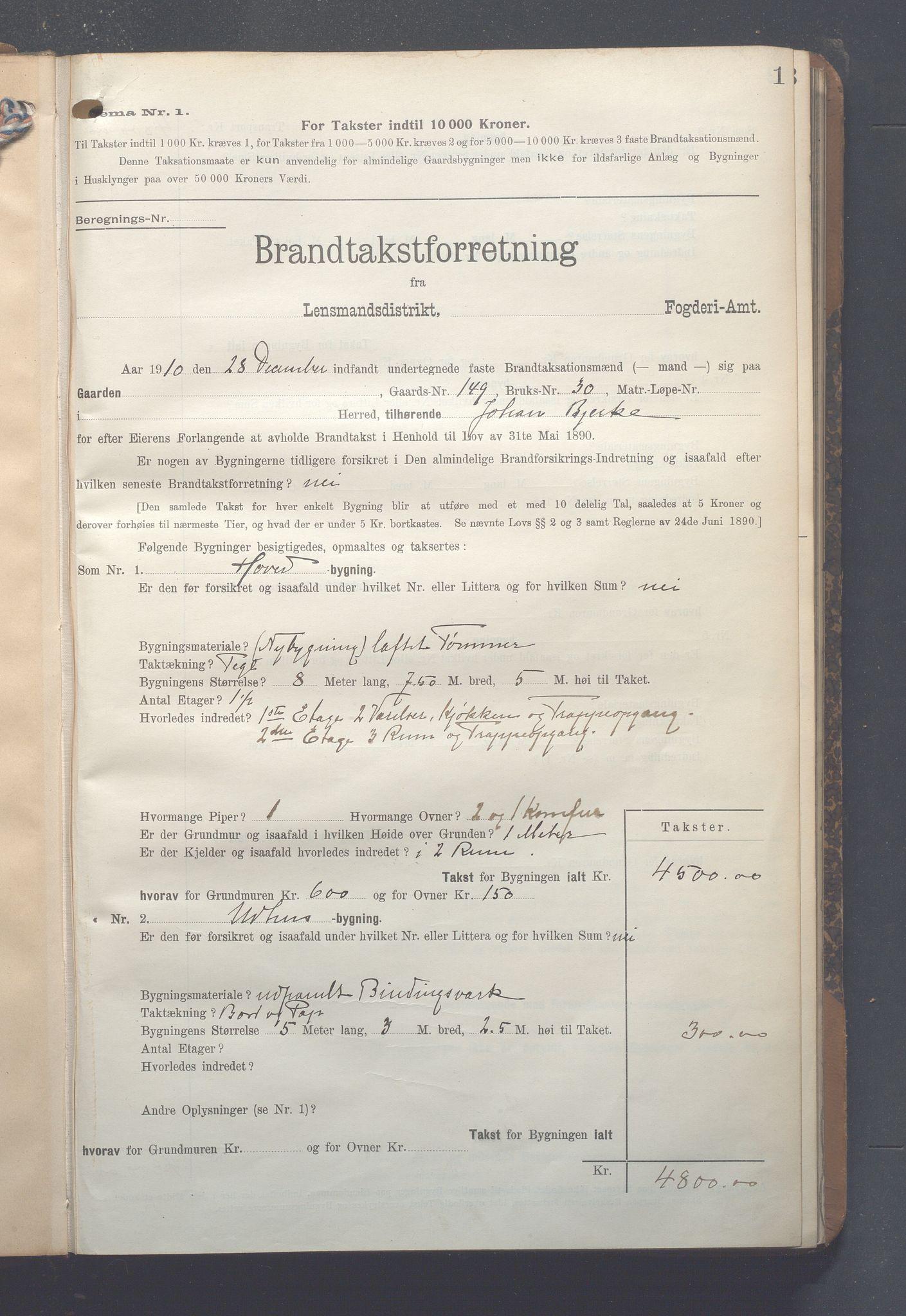 OBA, Lensmennene i Aker, F/Fc/L0010: Branntakstprotokoll, 1910-1912, s. 1
