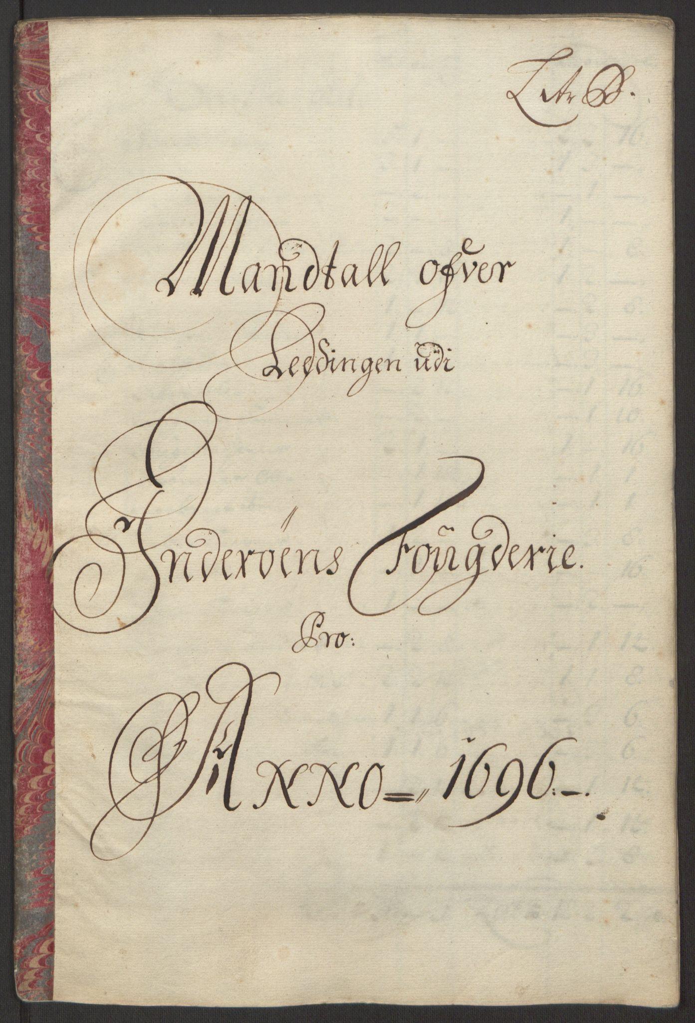 RA, Rentekammeret inntil 1814, Reviderte regnskaper, Fogderegnskap, R63/L4309: Fogderegnskap Inderøy, 1695-1697, s. 134