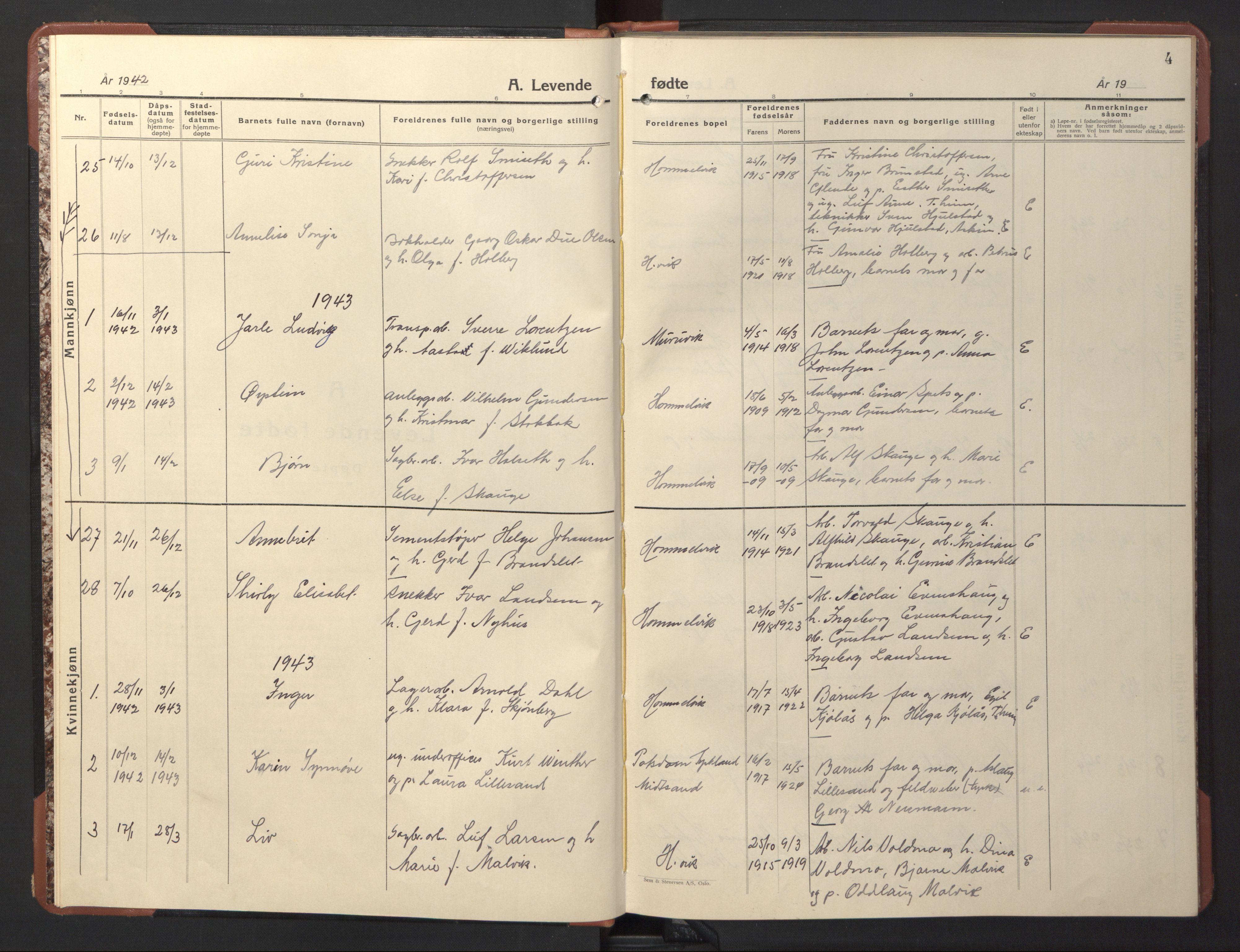SAT, Ministerialprotokoller, klokkerbøker og fødselsregistre - Sør-Trøndelag, 617/L0433: Klokkerbok nr. 617C04, 1942-1947, s. 4