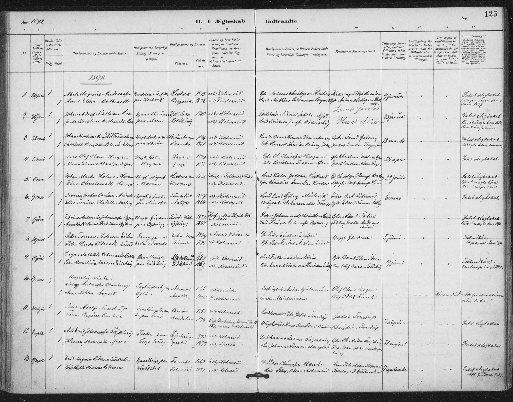 SAT, Ministerialprotokoller, klokkerbøker og fødselsregistre - Nord-Trøndelag, 780/L0644: Ministerialbok nr. 780A08, 1886-1903, s. 125