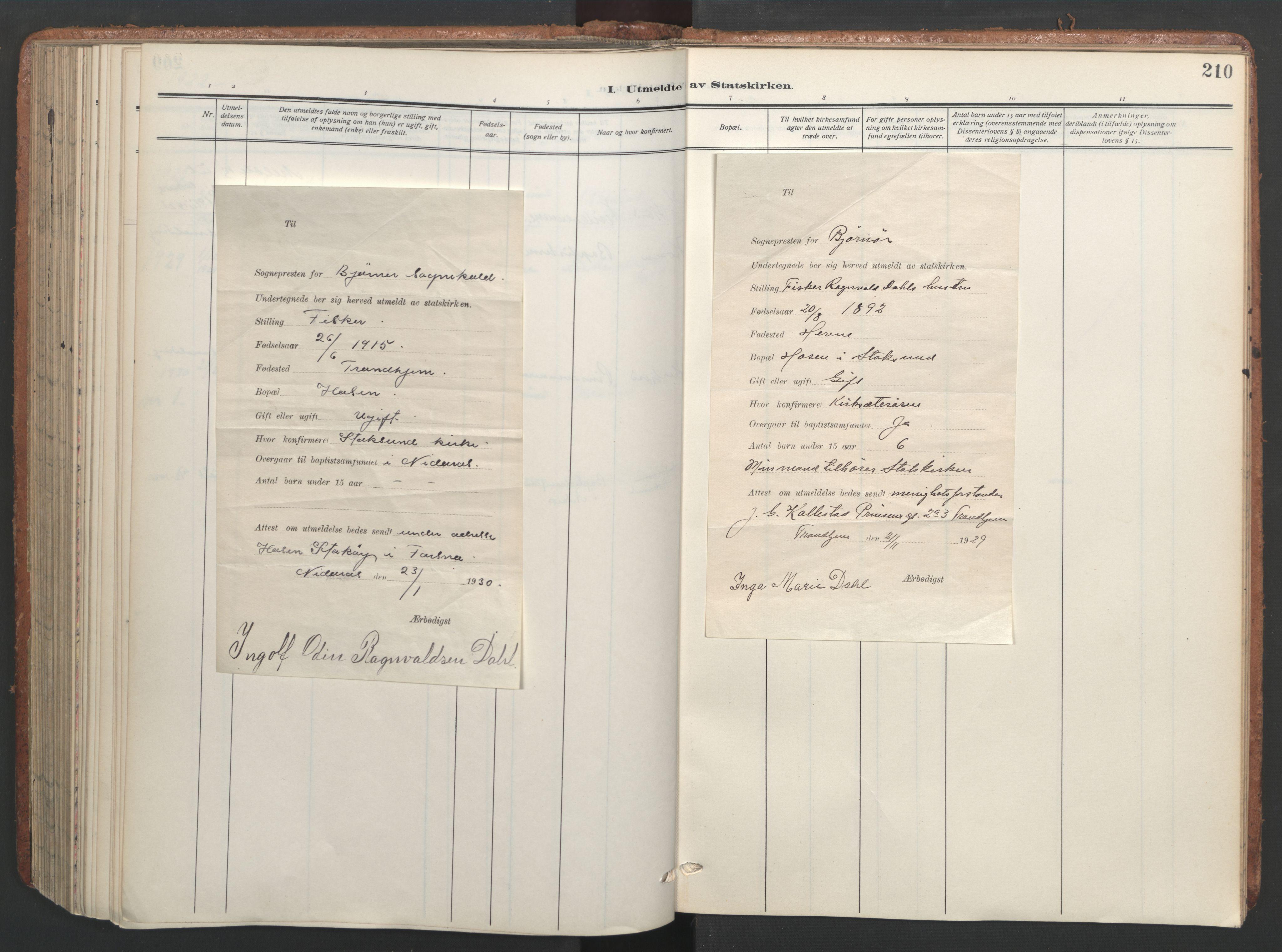 SAT, Ministerialprotokoller, klokkerbøker og fødselsregistre - Sør-Trøndelag, 656/L0694: Ministerialbok nr. 656A03, 1914-1931, s. 210