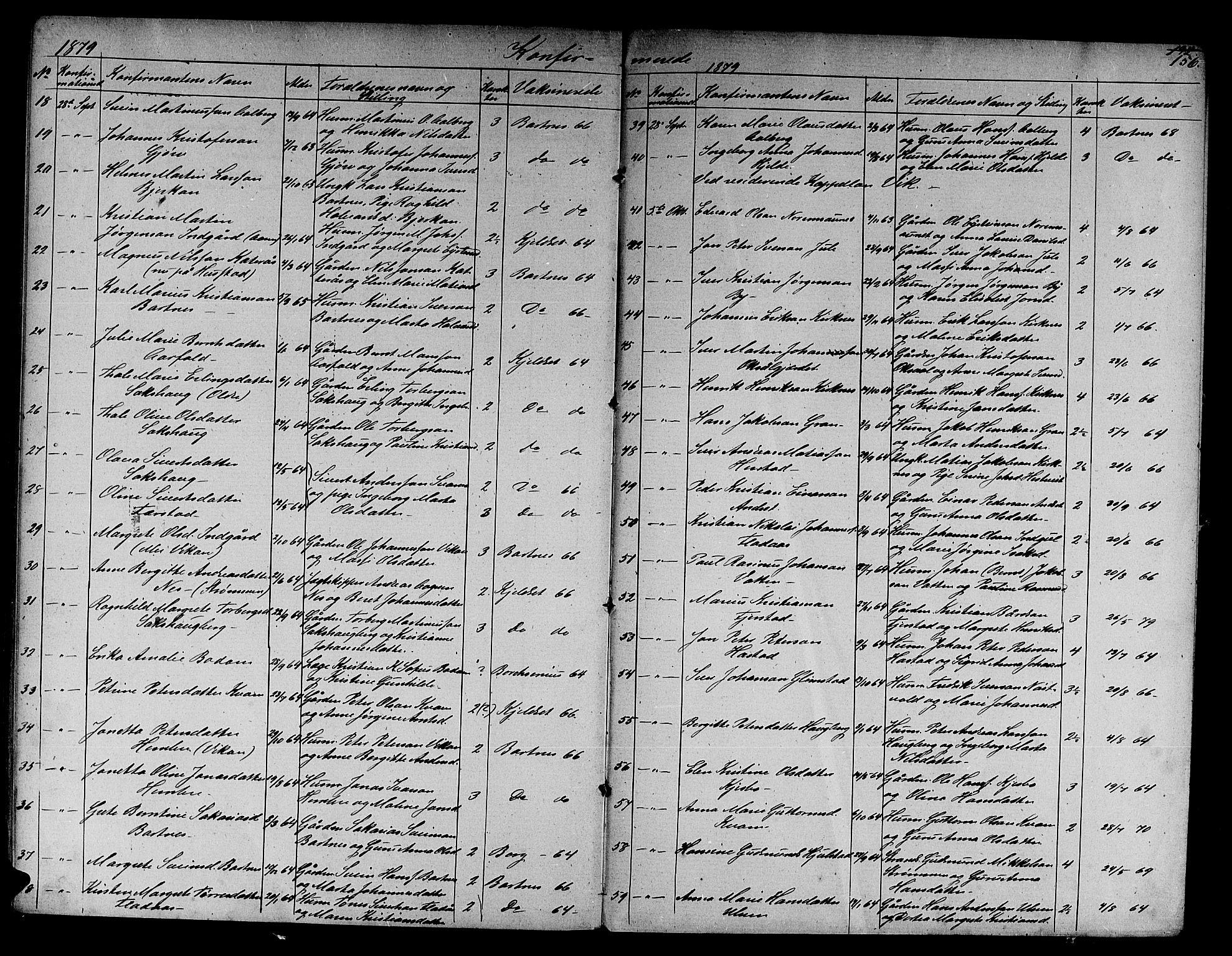 SAT, Ministerialprotokoller, klokkerbøker og fødselsregistre - Nord-Trøndelag, 730/L0300: Klokkerbok nr. 730C03, 1872-1879, s. 156