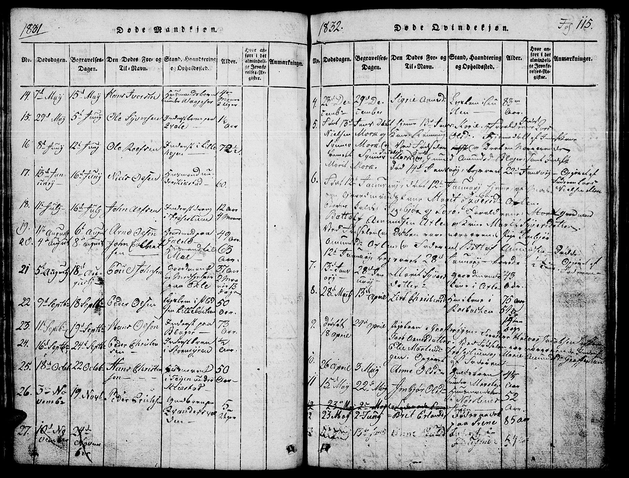 SAH, Lom prestekontor, L/L0001: Klokkerbok nr. 1, 1815-1836, s. 115