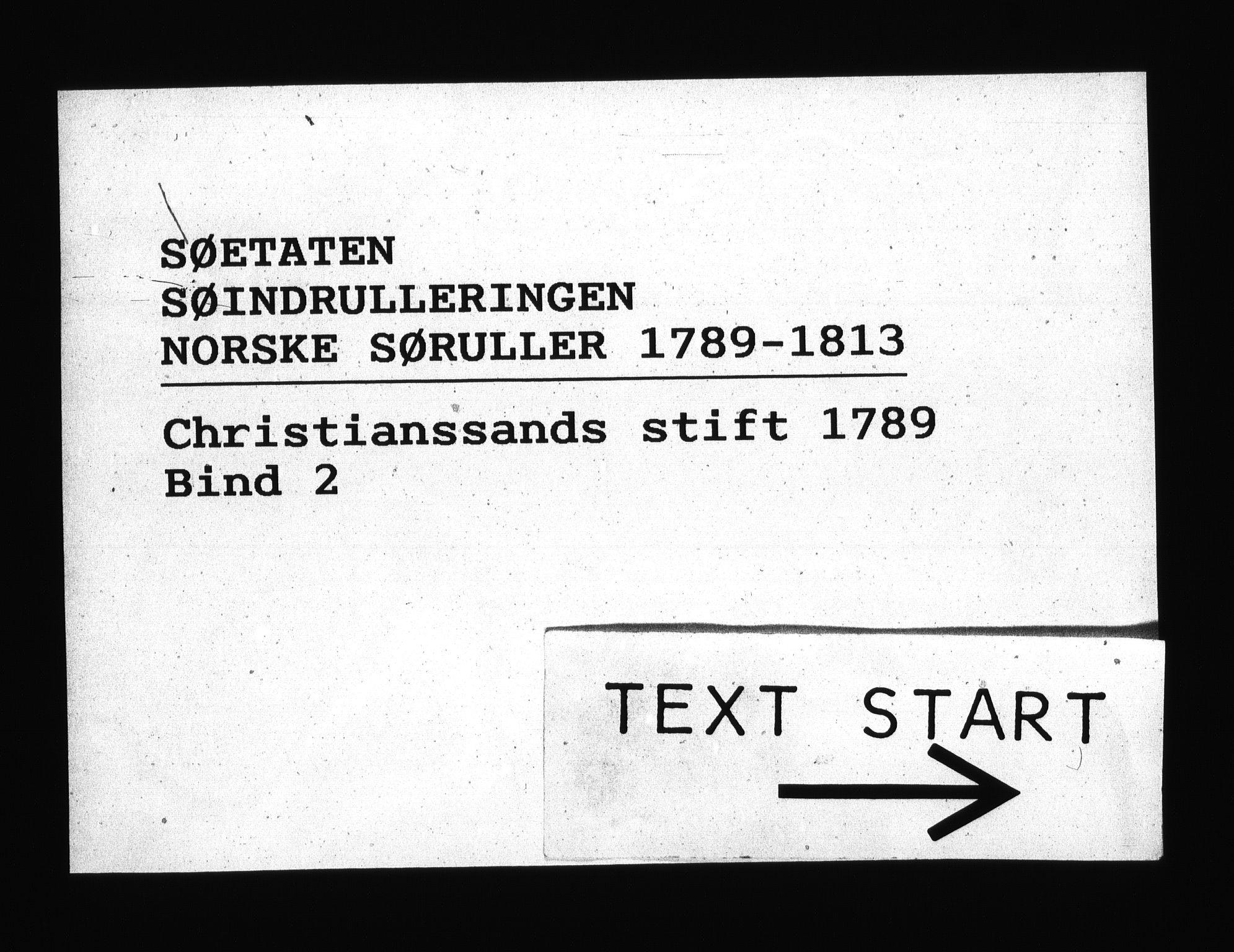 RA, Sjøetaten, F/L0009: Kristiansand stift, bind 2, 1789