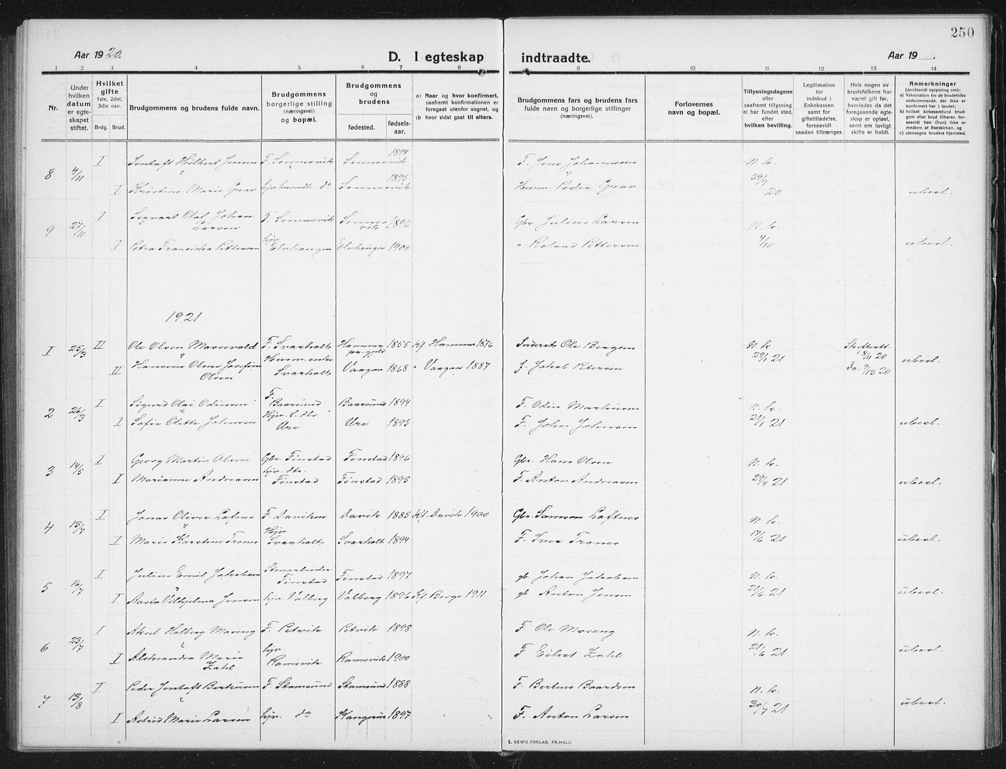 SAT, Ministerialprotokoller, klokkerbøker og fødselsregistre - Nordland, 882/L1183: Klokkerbok nr. 882C01, 1911-1938, s. 250