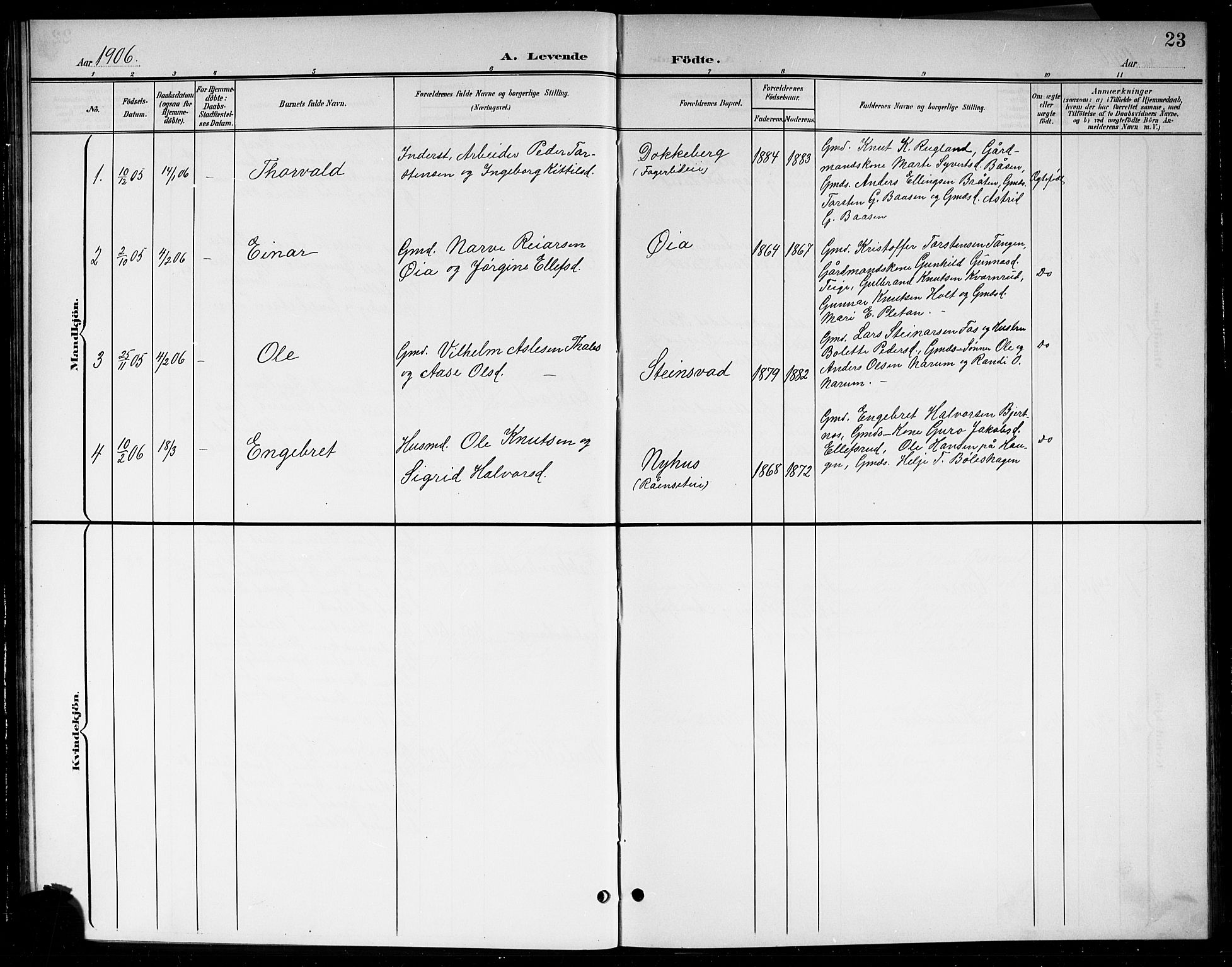 SAKO, Sigdal kirkebøker, G/Gb/L0003: Klokkerbok nr. II 3, 1901-1916, s. 23