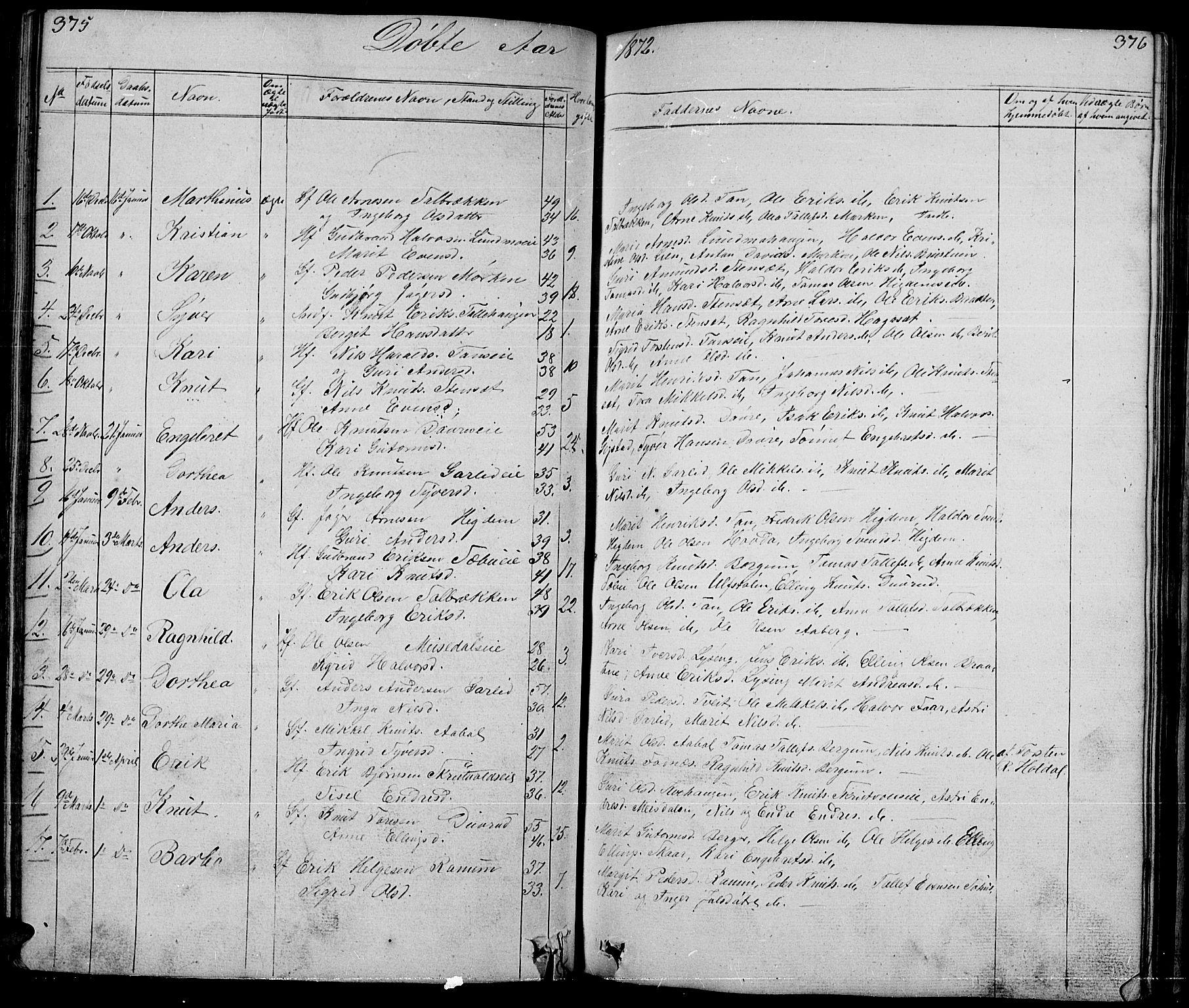 SAH, Nord-Aurdal prestekontor, Klokkerbok nr. 1, 1834-1887, s. 375-376