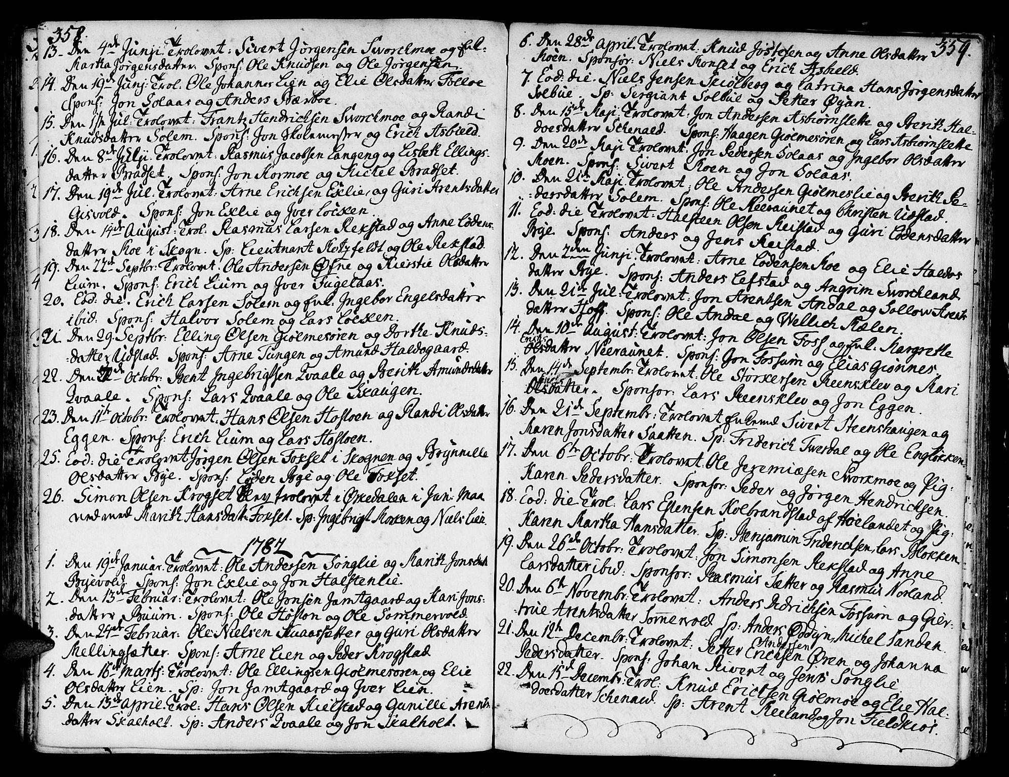 SAT, Ministerialprotokoller, klokkerbøker og fødselsregistre - Sør-Trøndelag, 668/L0802: Ministerialbok nr. 668A02, 1776-1799, s. 358-359