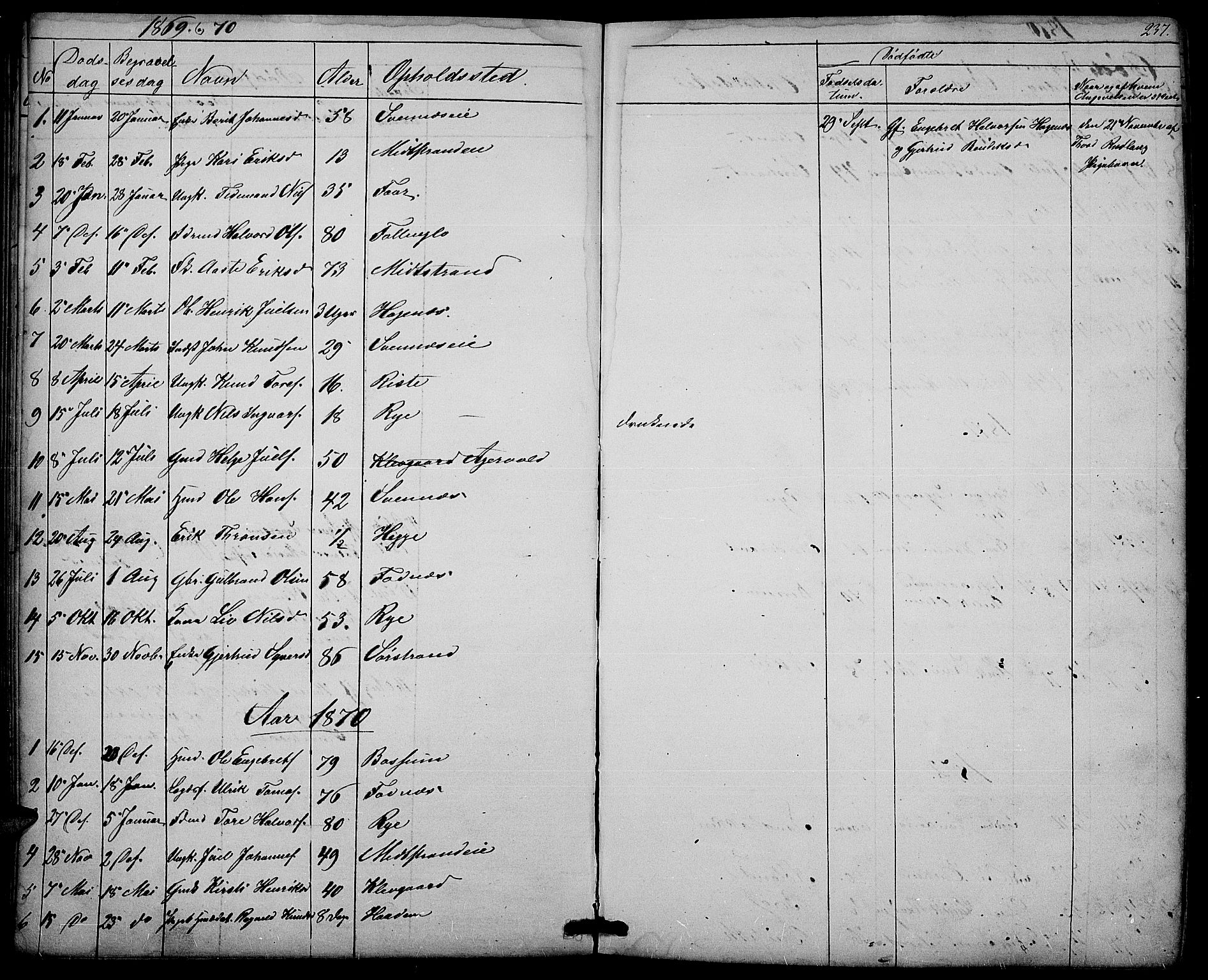 SAH, Nord-Aurdal prestekontor, Klokkerbok nr. 3, 1842-1882, s. 237