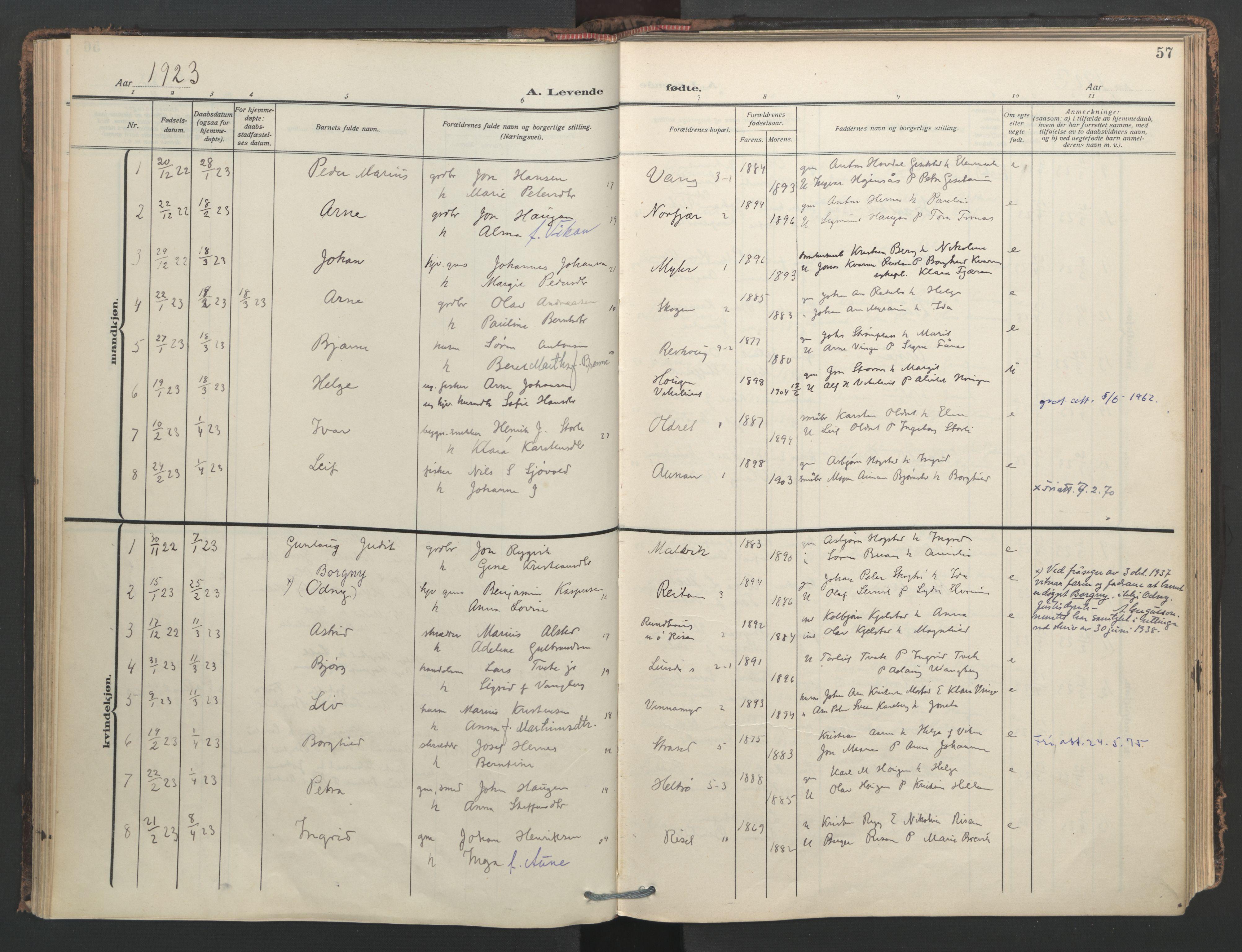 SAT, Ministerialprotokoller, klokkerbøker og fødselsregistre - Nord-Trøndelag, 713/L0123: Ministerialbok nr. 713A12, 1911-1925, s. 57