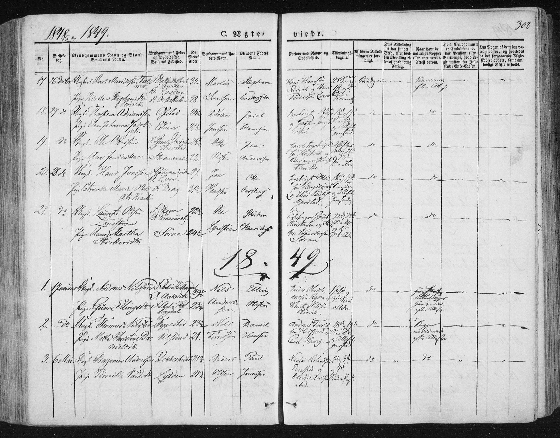 SAT, Ministerialprotokoller, klokkerbøker og fødselsregistre - Nord-Trøndelag, 784/L0669: Ministerialbok nr. 784A04, 1829-1859, s. 308