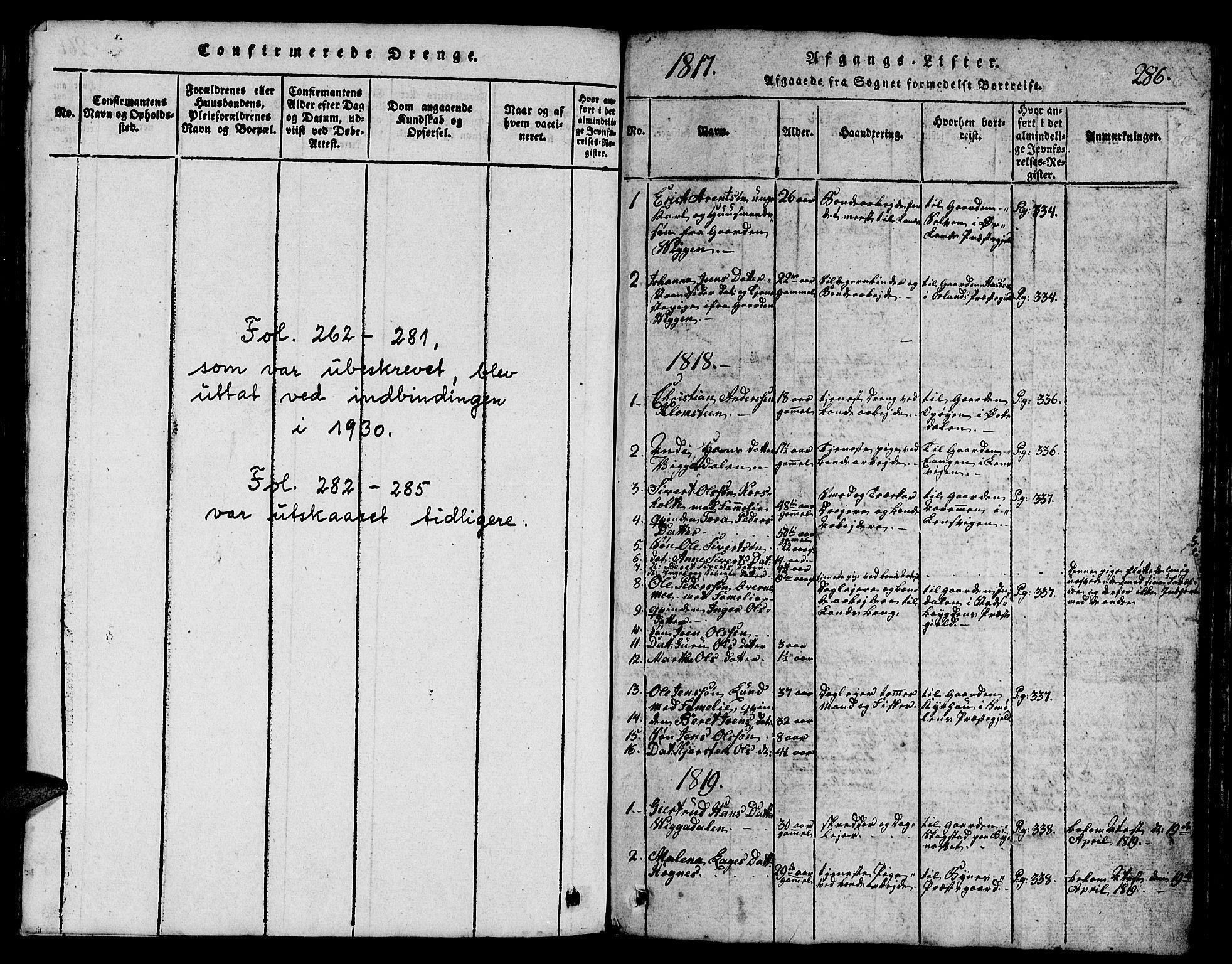 SAT, Ministerialprotokoller, klokkerbøker og fødselsregistre - Sør-Trøndelag, 665/L0776: Klokkerbok nr. 665C01, 1817-1837, s. 286