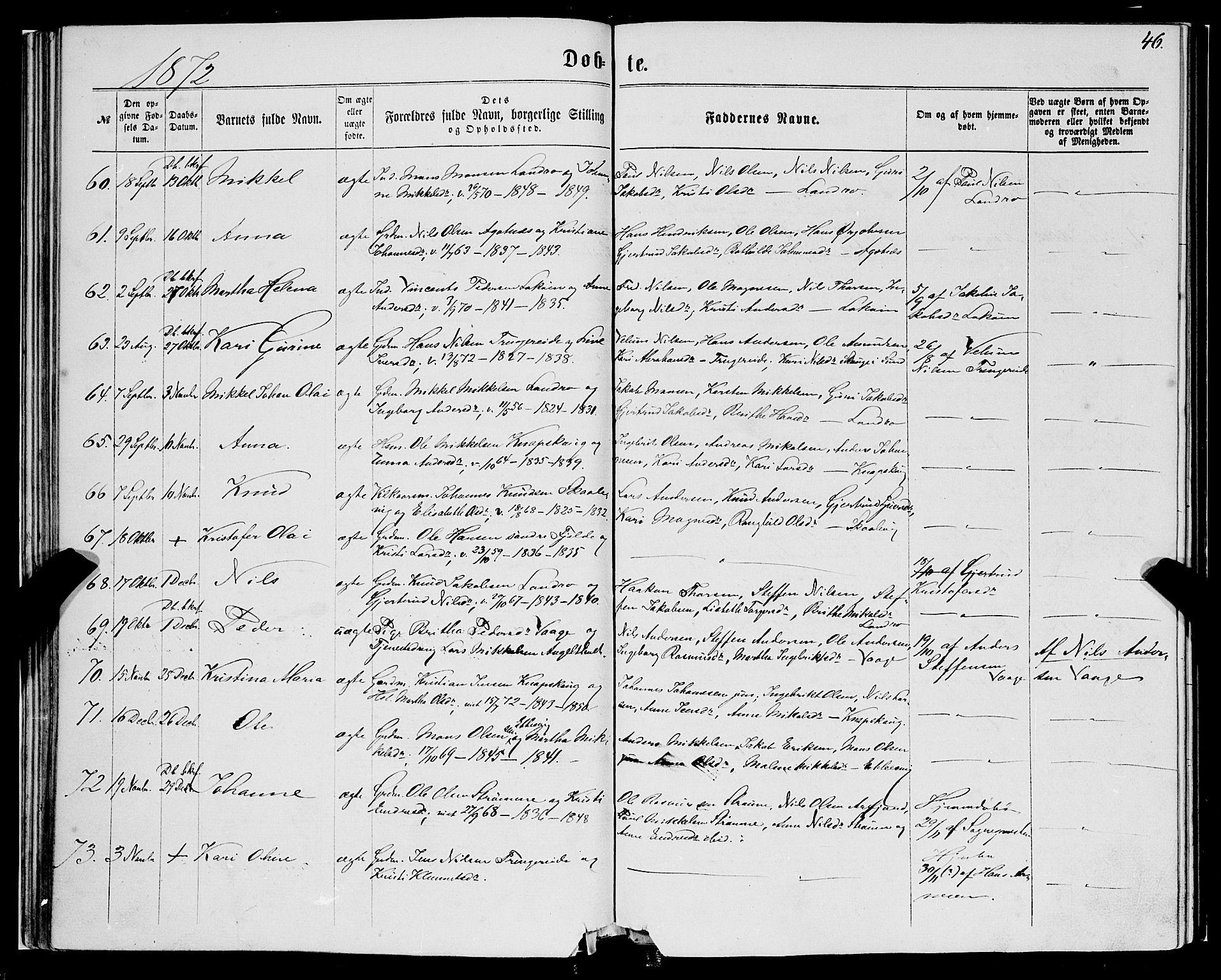 SAB, Fjell Sokneprestembete, H/Haa: Ministerialbok nr. A 3, 1864-1877, s. 46