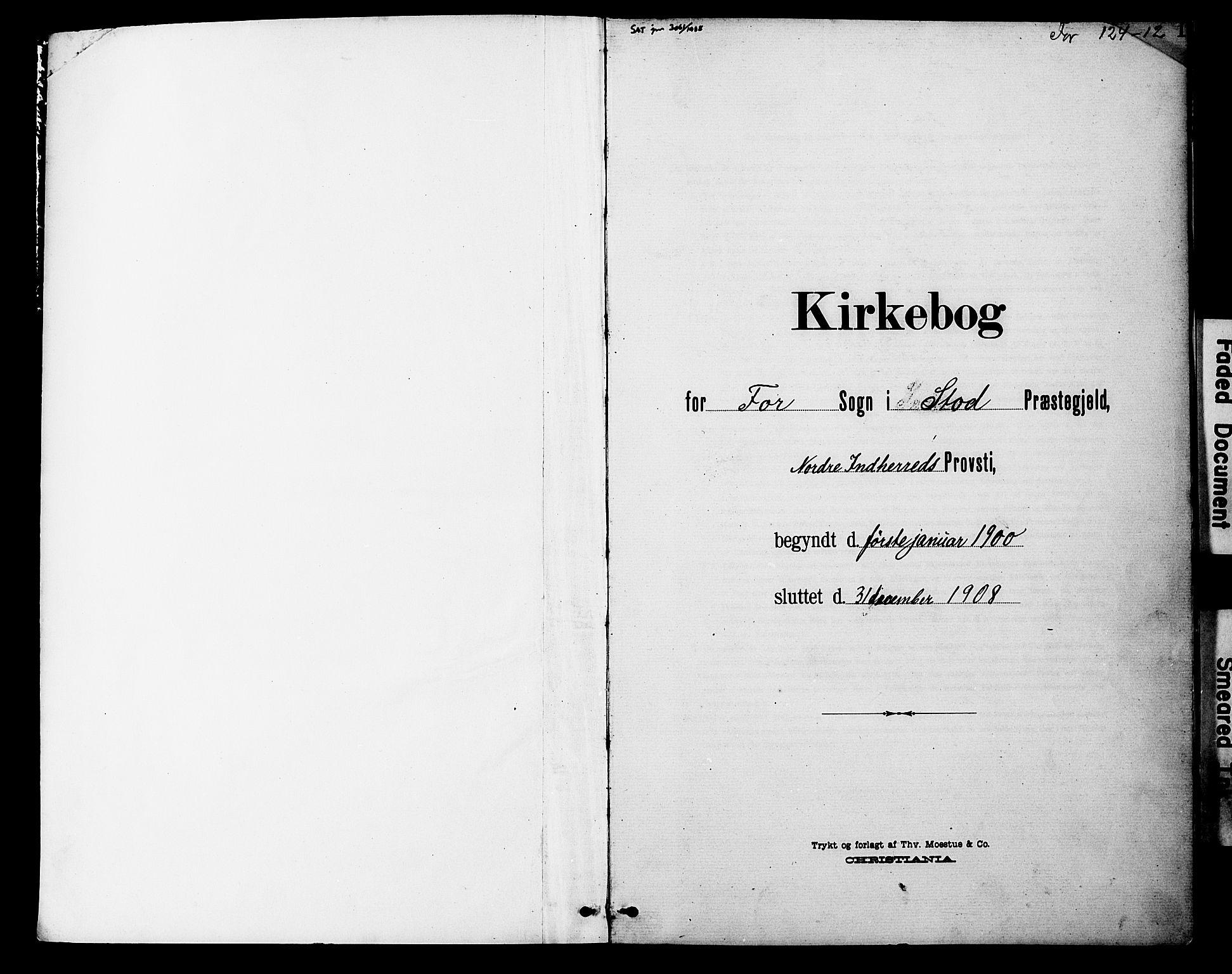 SAT, Ministerialprotokoller, klokkerbøker og fødselsregistre - Nord-Trøndelag, 746/L0452: Ministerialbok nr. 746A09, 1900-1908, s. 1