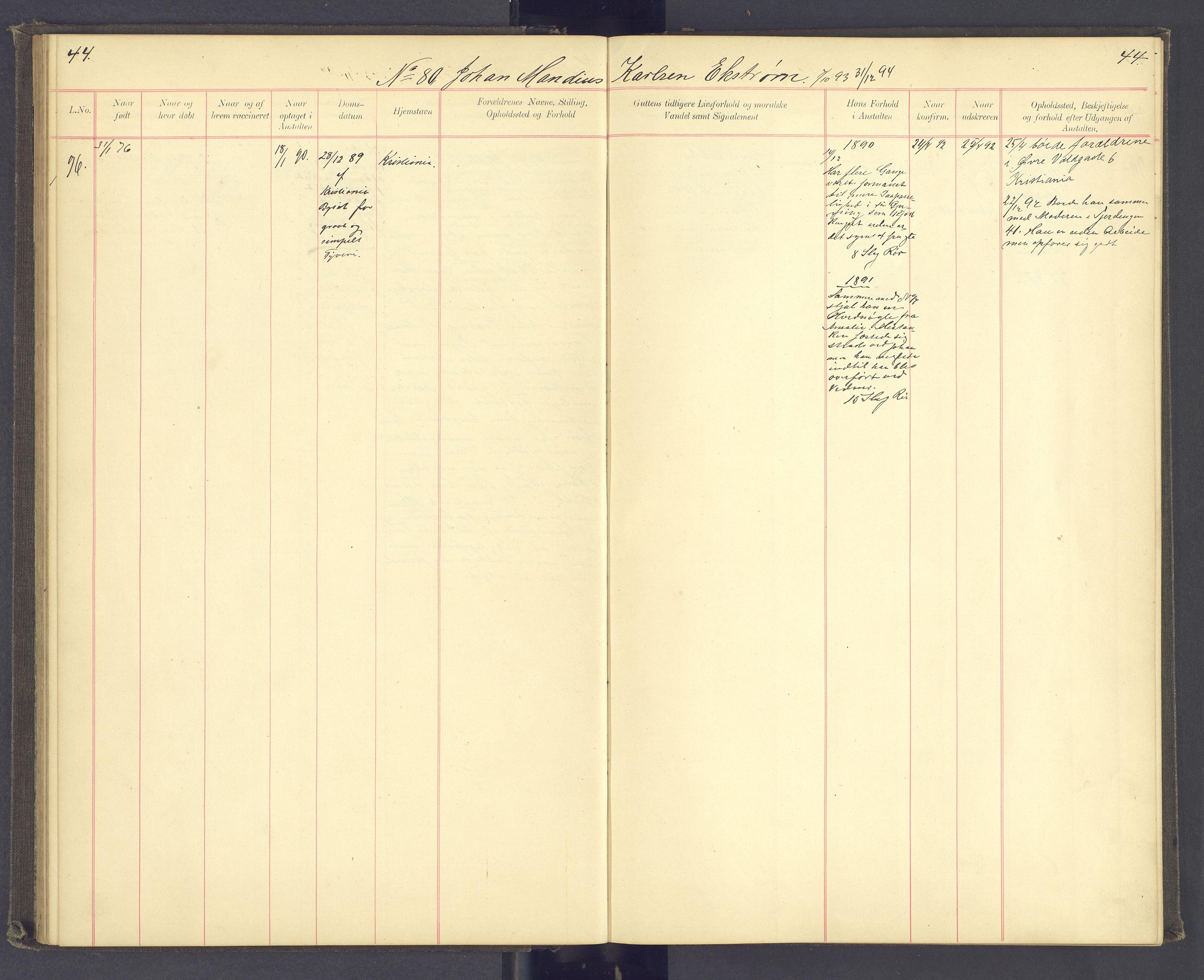 SAH, Toftes Gave, F/Fc/L0003: Elevprotokoll, 1886-1897, s. 44
