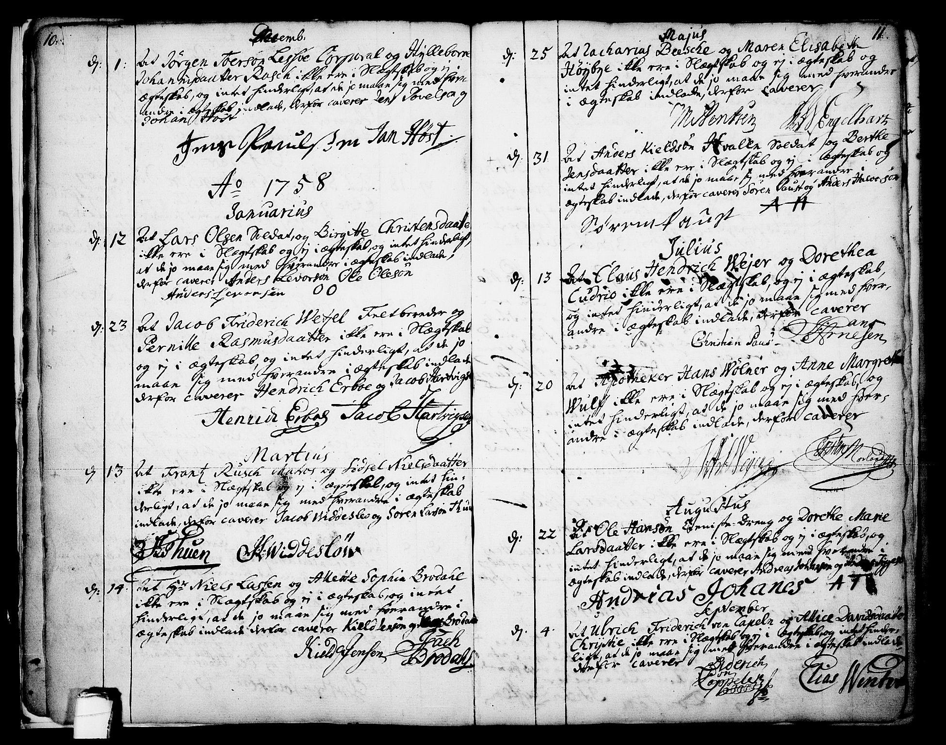 SAKO, Skien kirkebøker, F/Fa/L0003: Ministerialbok nr. 3, 1755-1791, s. 10-11