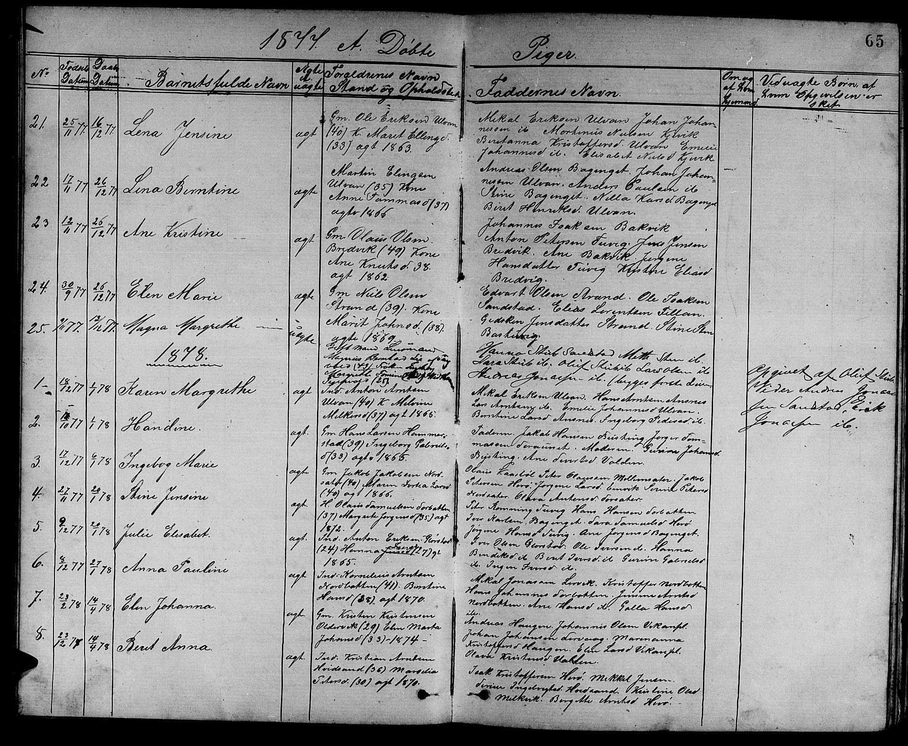 SAT, Ministerialprotokoller, klokkerbøker og fødselsregistre - Sør-Trøndelag, 637/L0561: Klokkerbok nr. 637C02, 1873-1882, s. 65